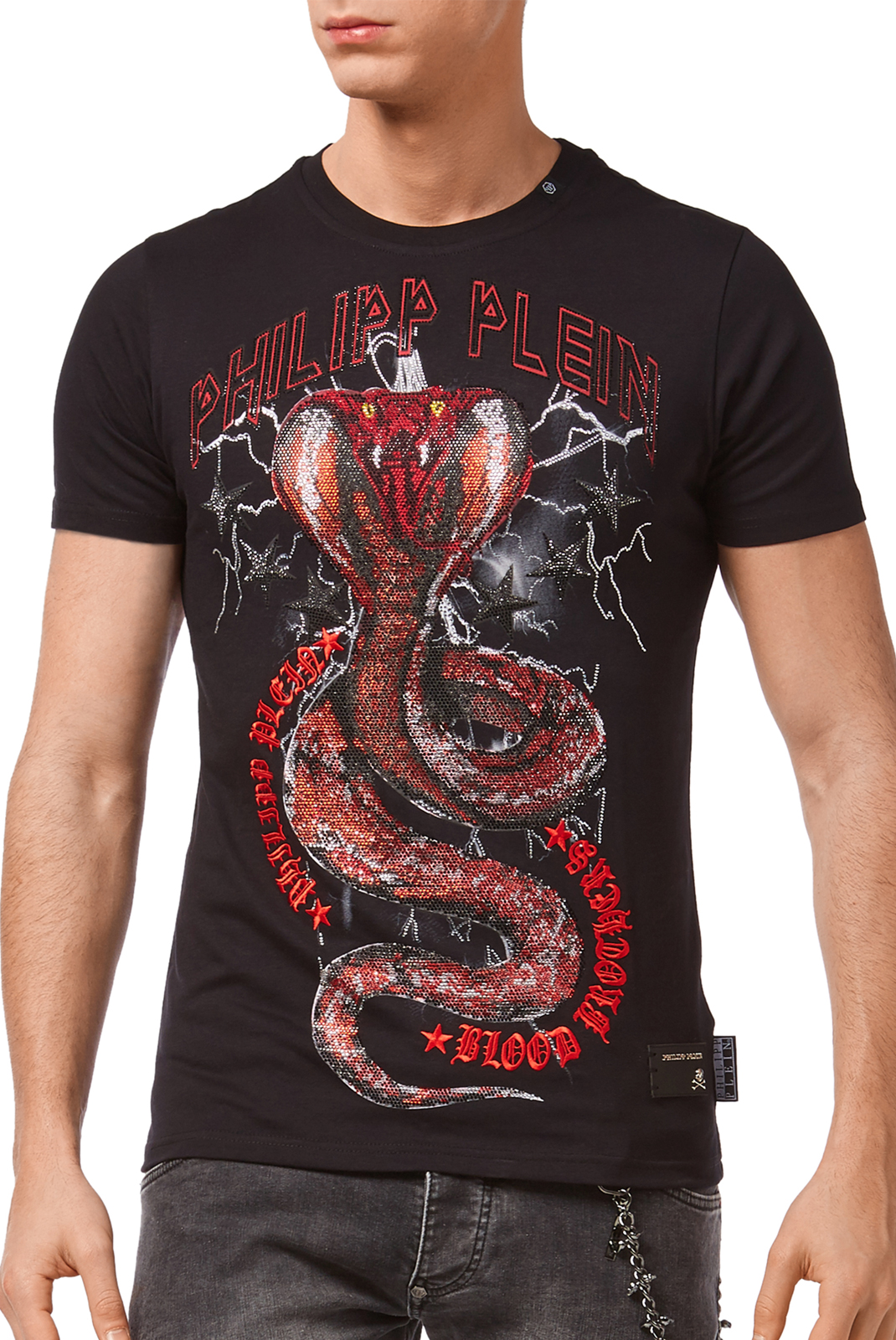 Tee-shirts  Philipp plein P18C MTK1943 PARTY ALL THE TIME 0213 BLACK/RED