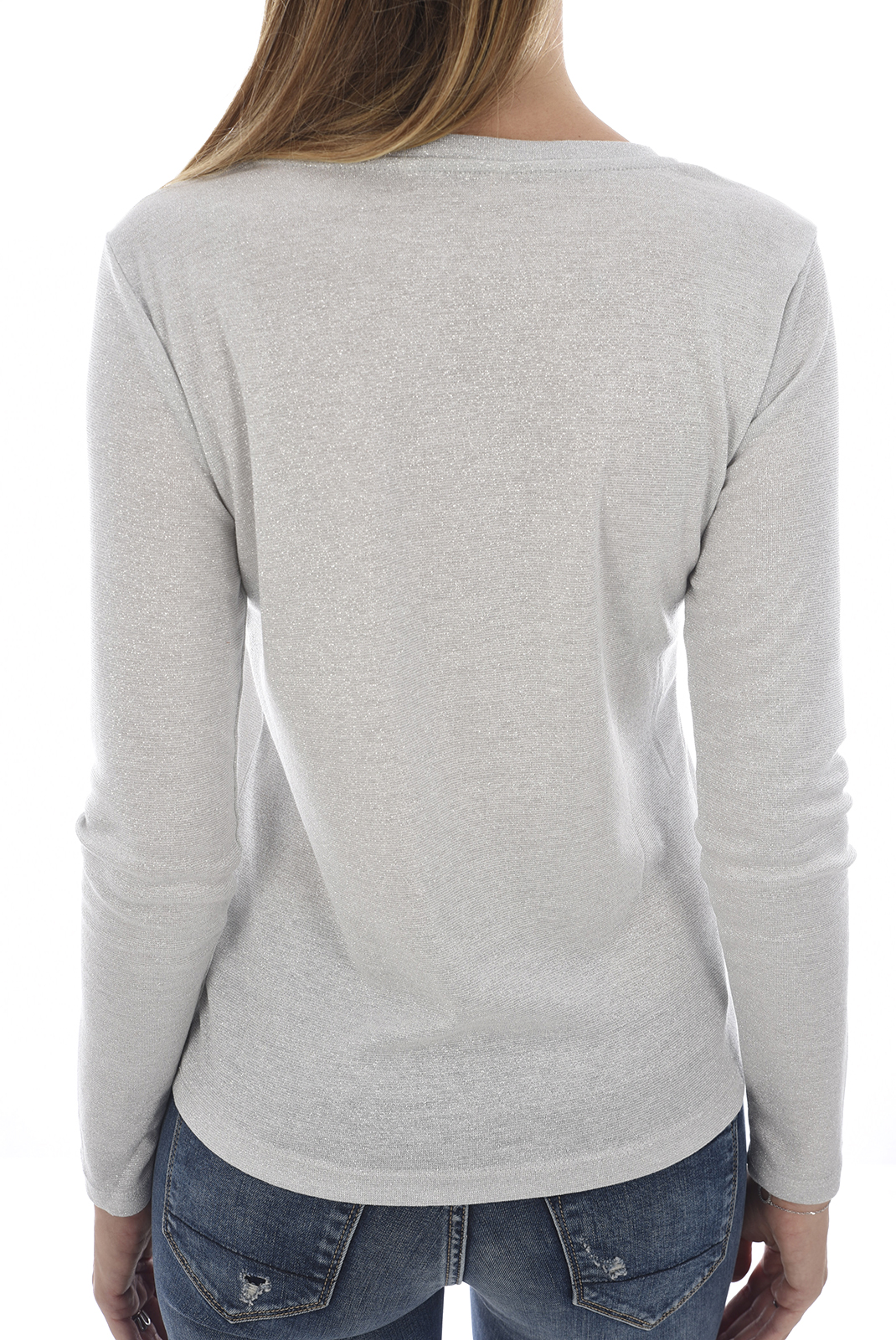 Top   Only SILVERY L/S O NECK Silver