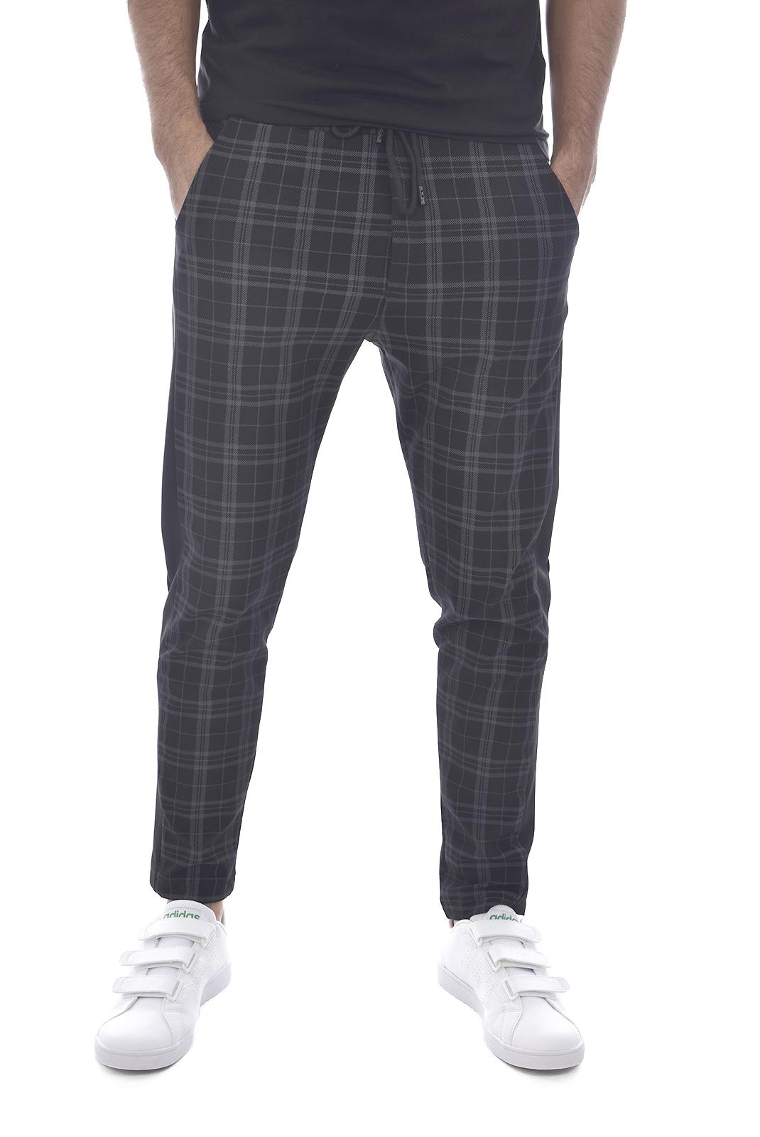 Pantalons sport/streetwear  Made in Italy TM0002.1 NOIR RAYE GRIS