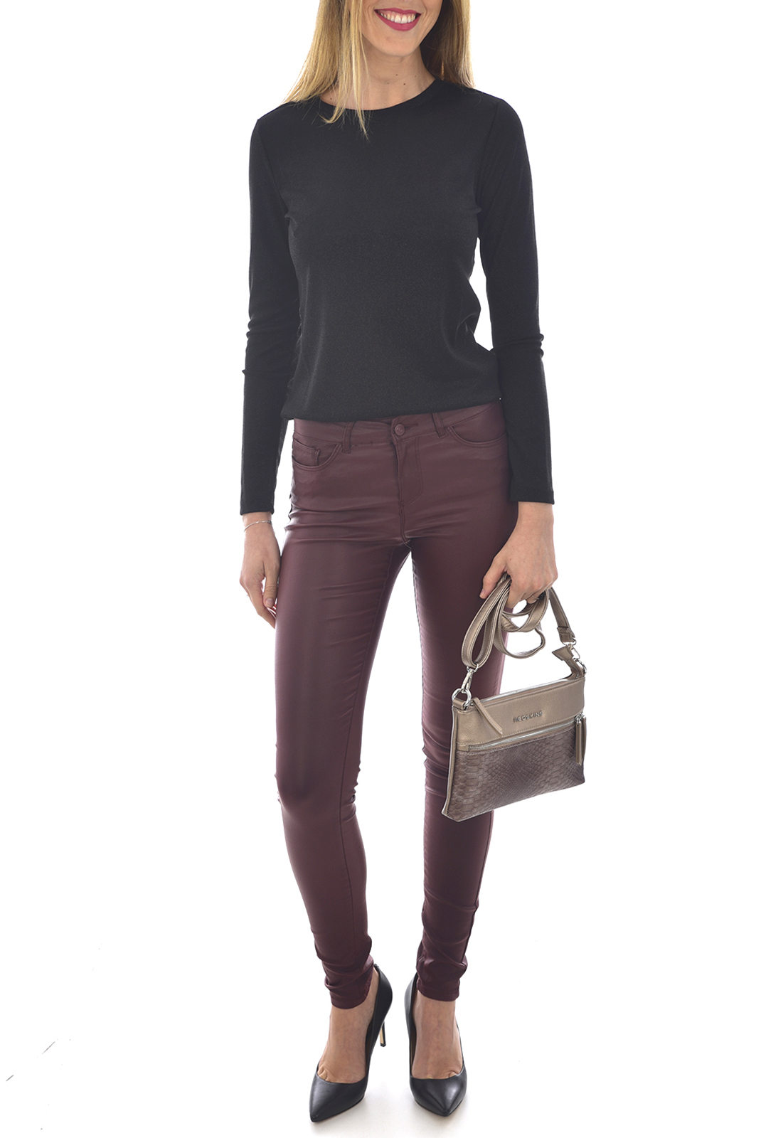Jeans slim  Vero moda SEVEN NW SS SMOOTH COATCLR PANT NOOS DECADENT CHOCOLATE