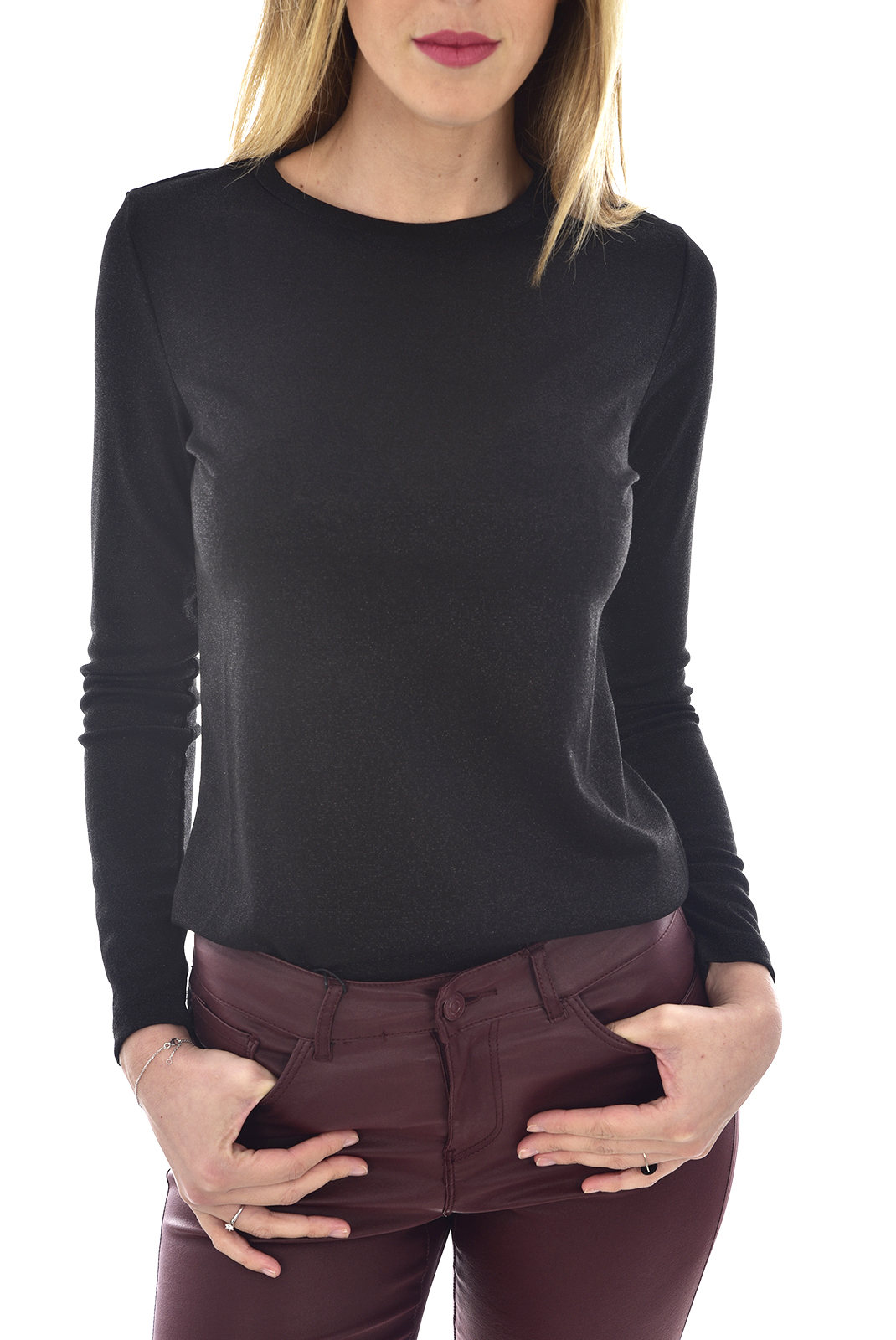 Top   Only SILVERY L/S O NECK Black