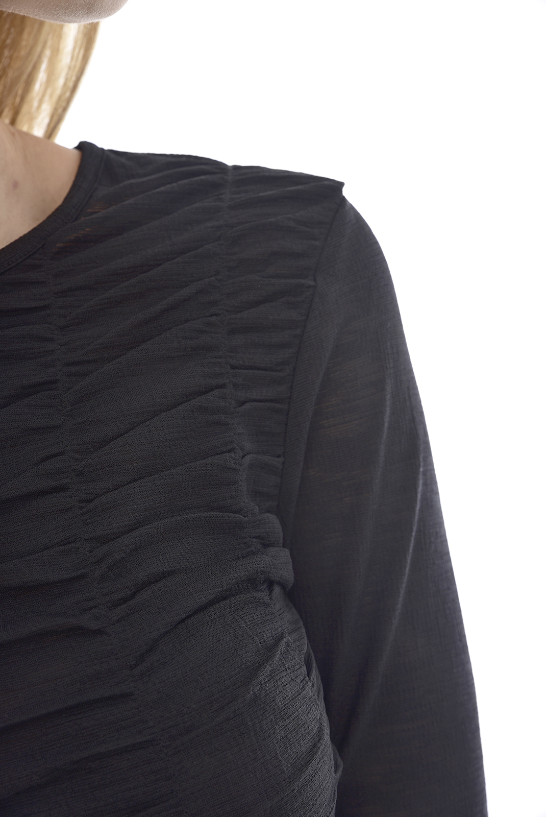 Top   Vero moda GOFRET CRINCKLED L/S Black
