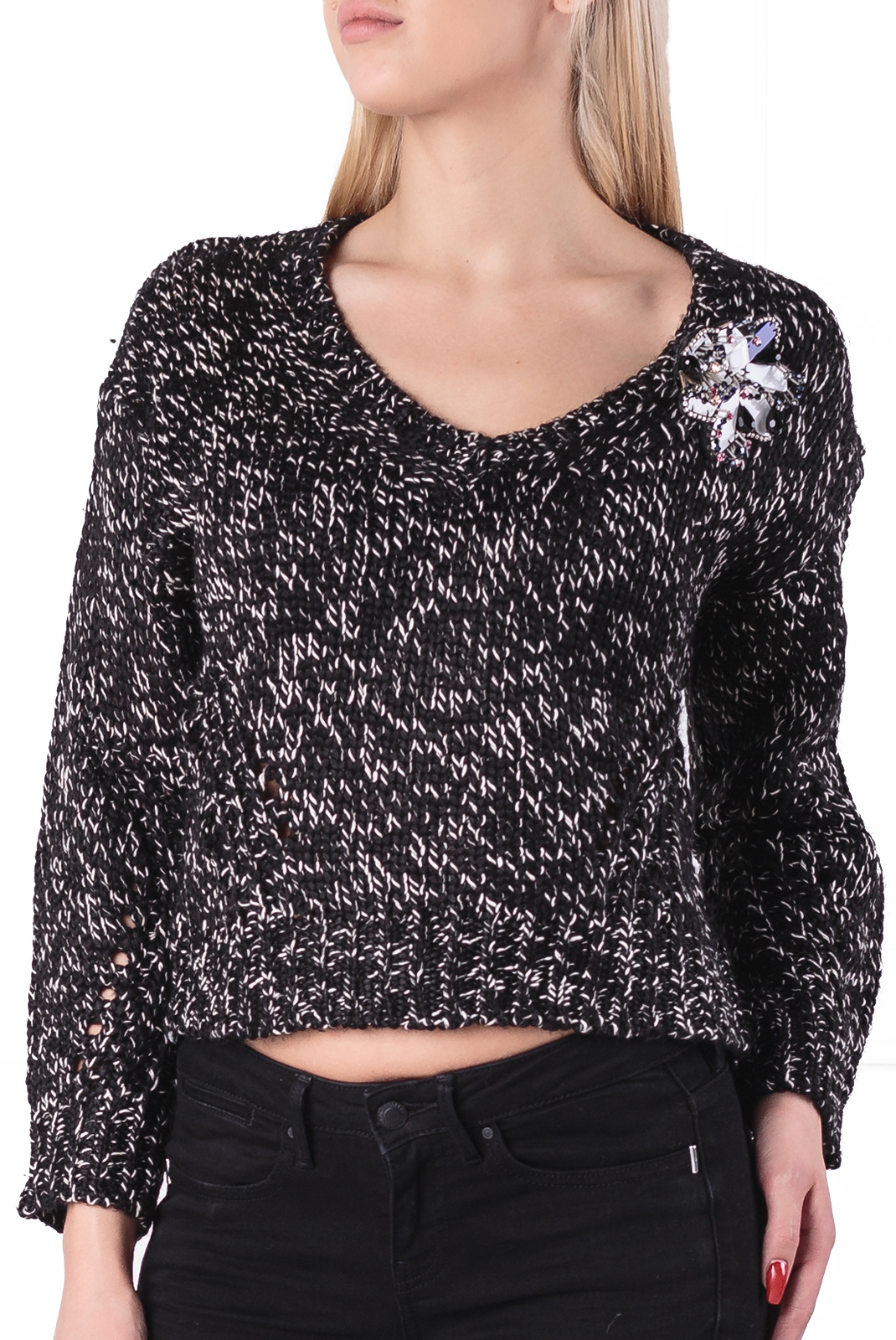 Pull  Guess jeans W84R83 Z26W0 FP45 BLACK SILVER COMBO