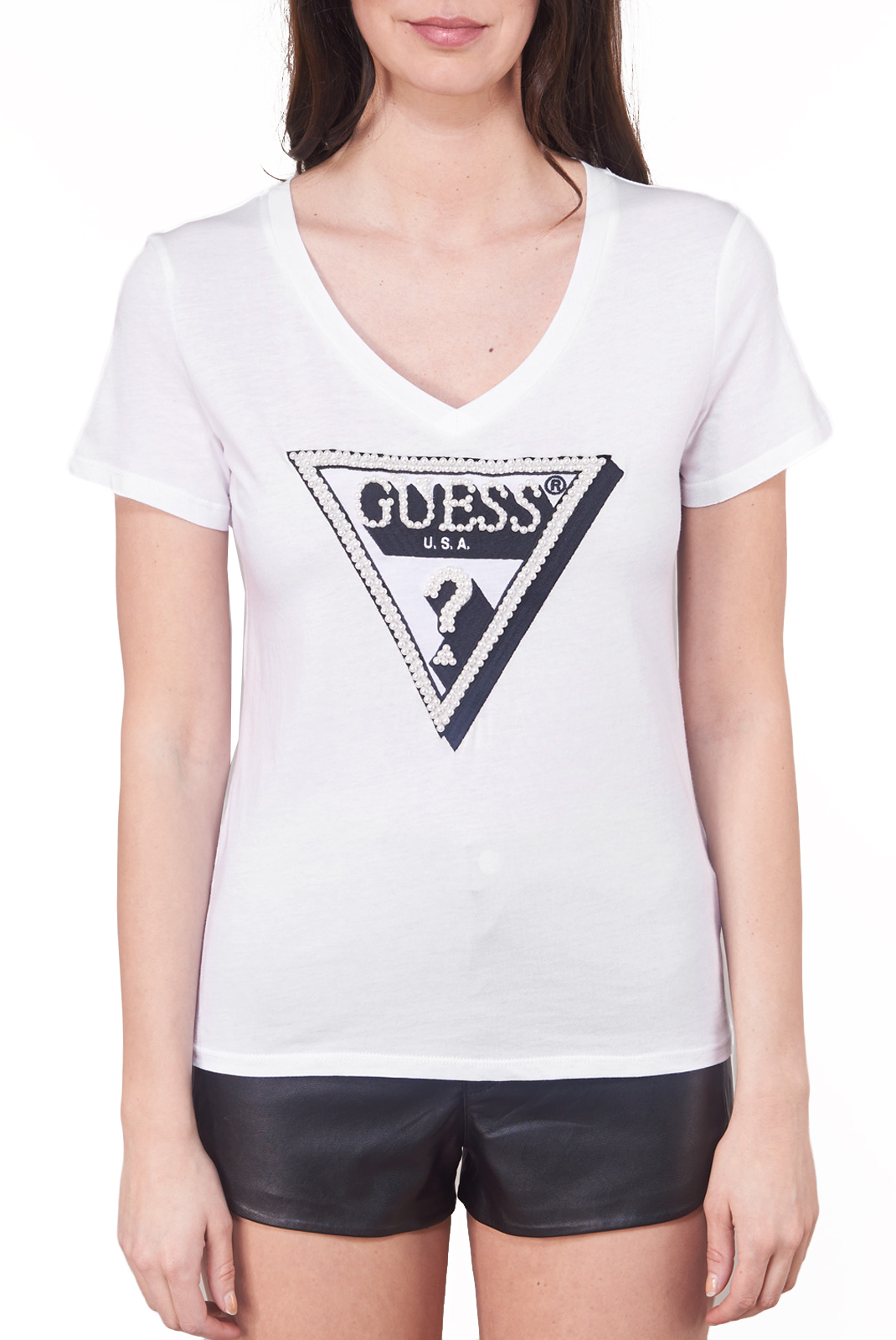 Tee shirt  Guess jeans W92I60 K7WS0 TRUE WHITE A000