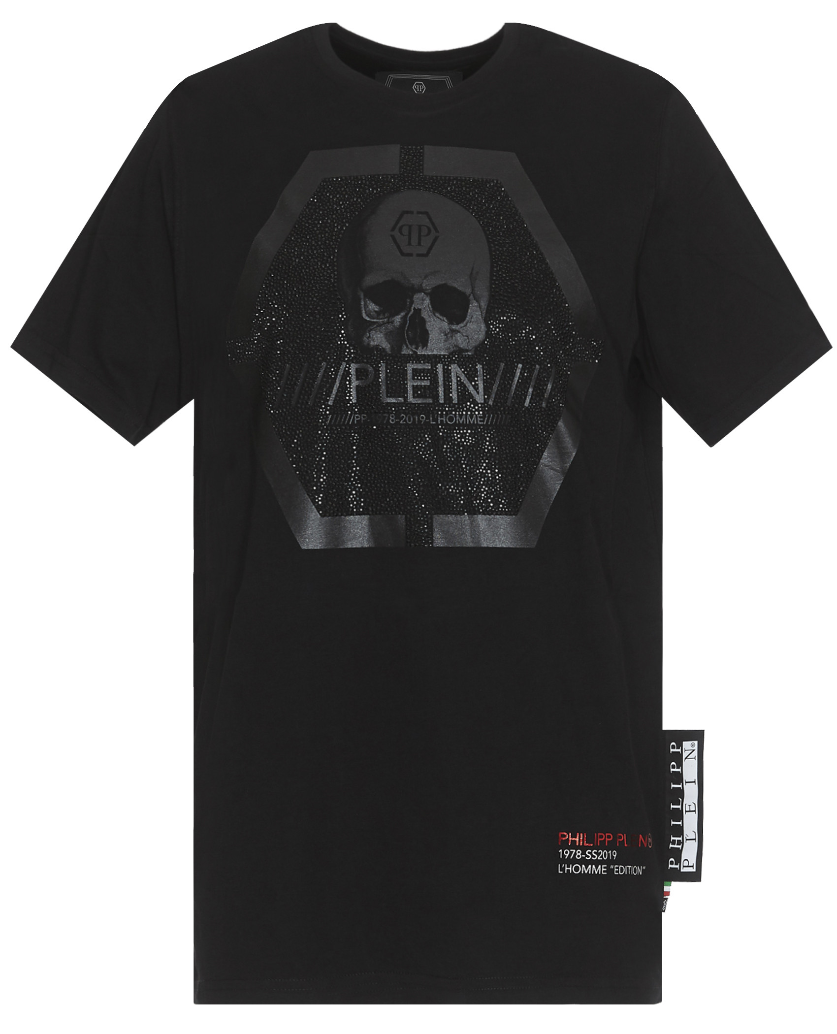 Tee-shirts  Philipp plein MTK3084 Platinum Cut Round Neck Skull BLACK/BLACK