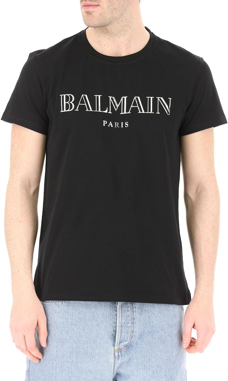 Tee-shirts  Balmain RH11601 BLACK/ARGENT