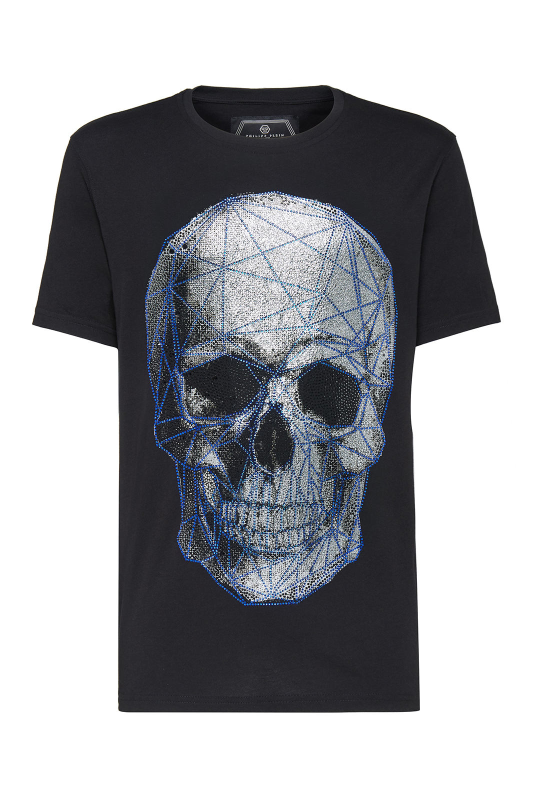 Tee-shirts  Philipp plein MTK3069 Platinum Cut Round Neck Skull BLACK/BLUE