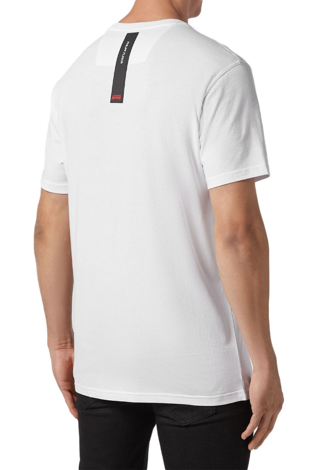 Tee-shirts  Philipp plein MTK3070 Platinum Cut Round Neck Aloha Plein WHITE