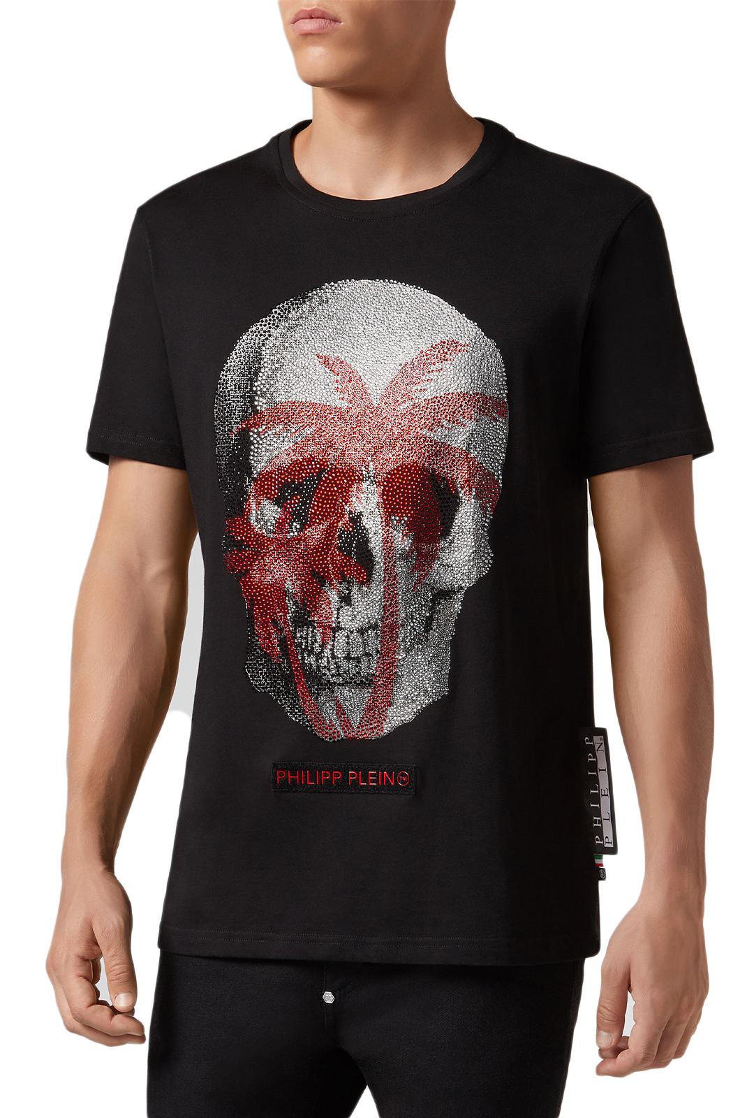 Tee-shirts  Philipp plein MTK3070 Platinum Cut Round Neck Aloha Plein BLACK