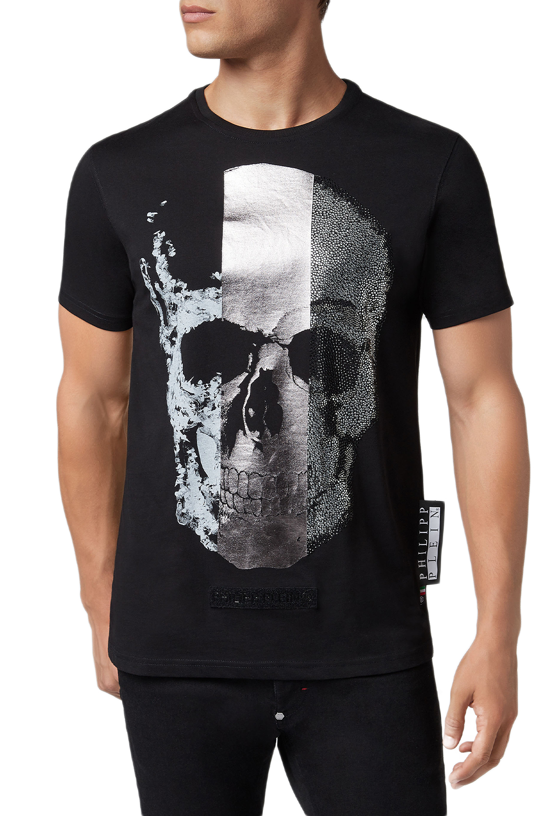 Tee-shirts  Philipp plein MTK3094 Platinum Cut Round Neck Skull BLACK