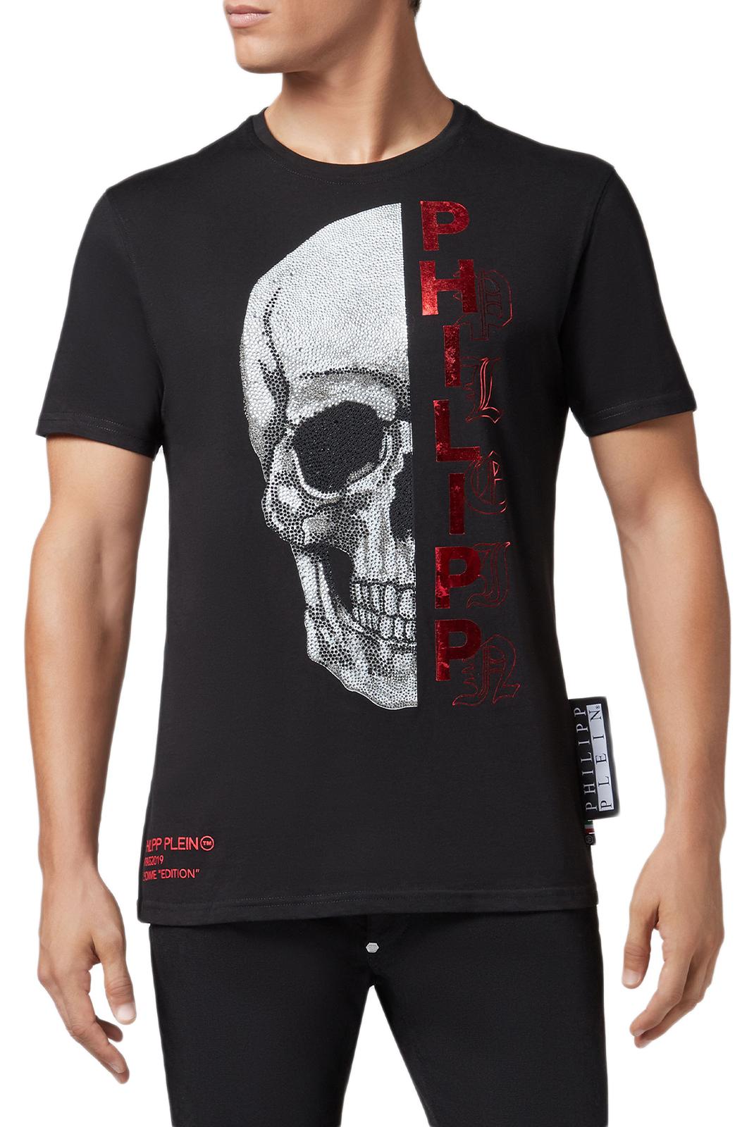 Tee-shirts  Philipp plein MTK3101 Platinum Cut Round Neck Gothic BLACK/RED