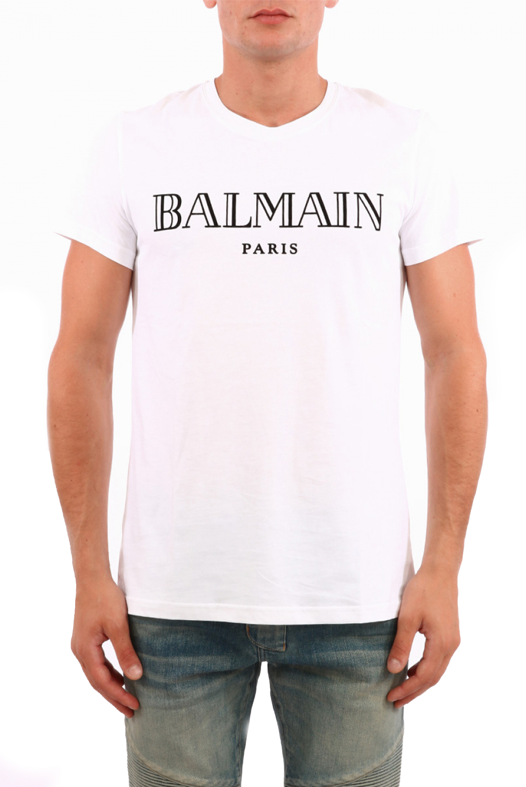 Tee-shirts  Balmain W8H8601 WHITE/BLACK