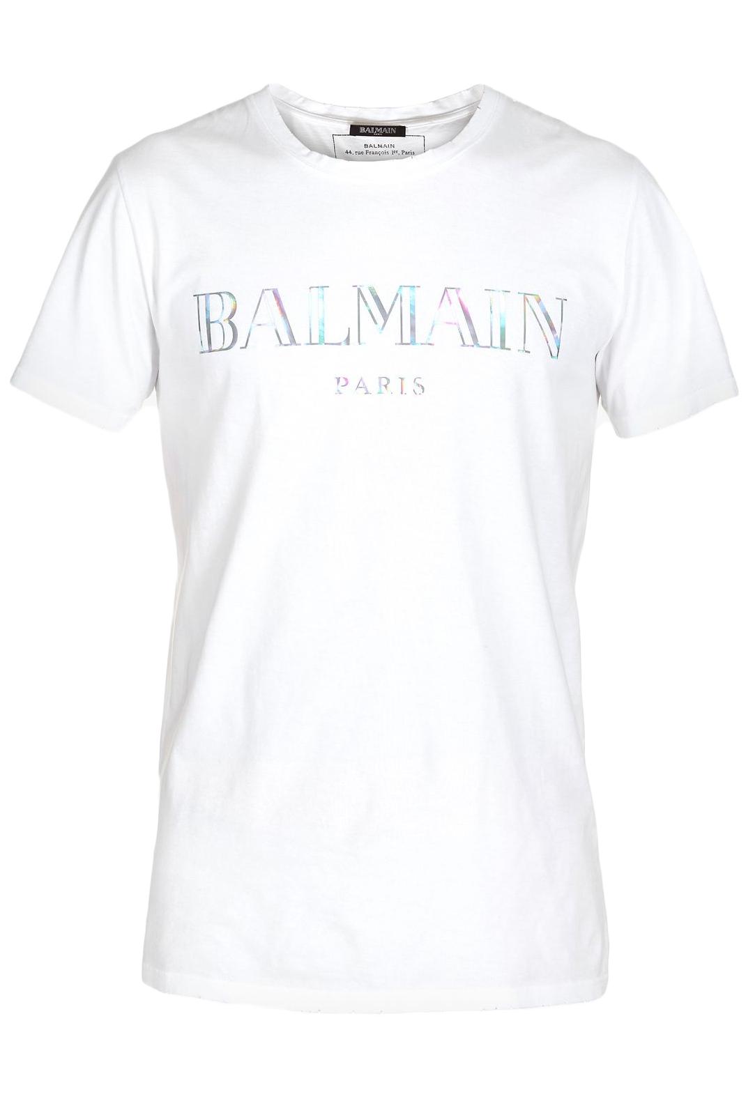 Tee-shirts  Balmain RH11601 WHITE/ARGENT