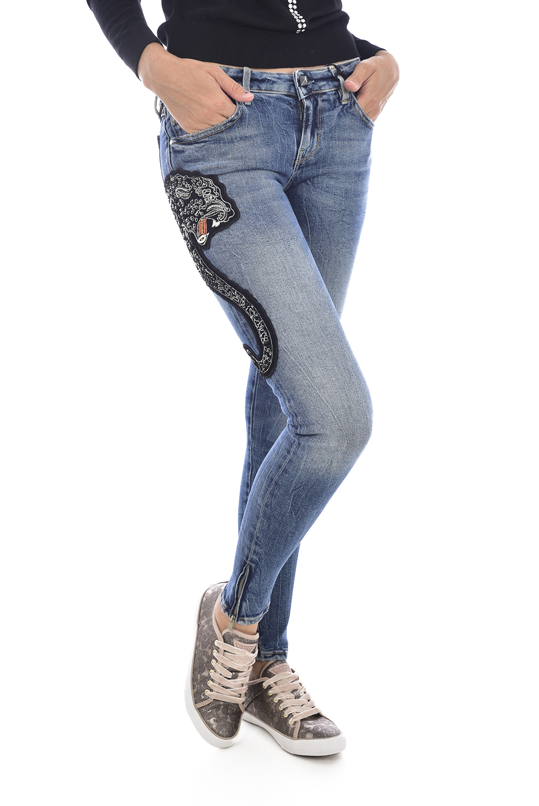 Jeans   Guess jeans W84AB8 D3BS1 MARILYN 3 ZIP SLEC