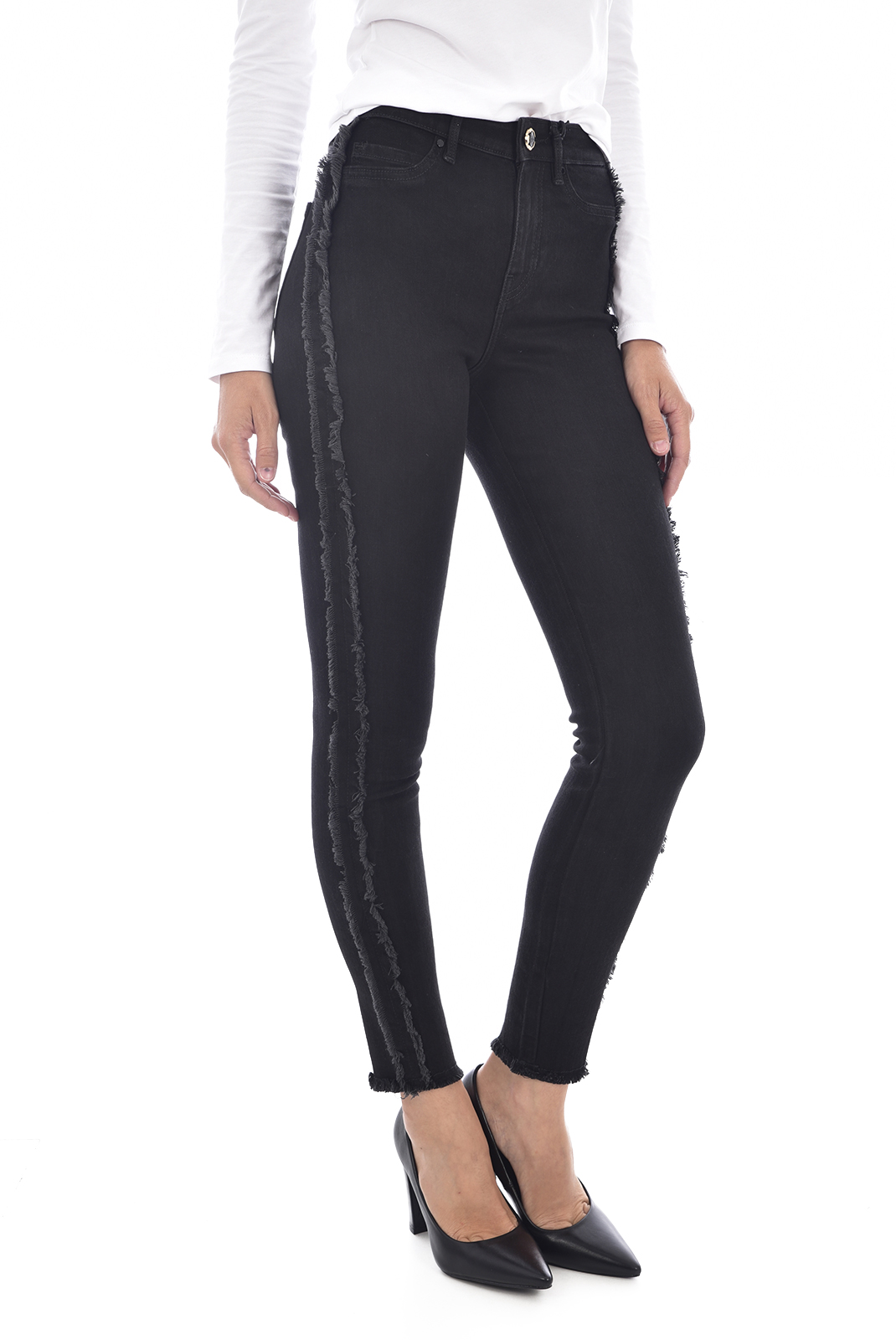 Femme  Guess jeans W84A41 D3BY0 1981 FRINGED PSB1 NOIR