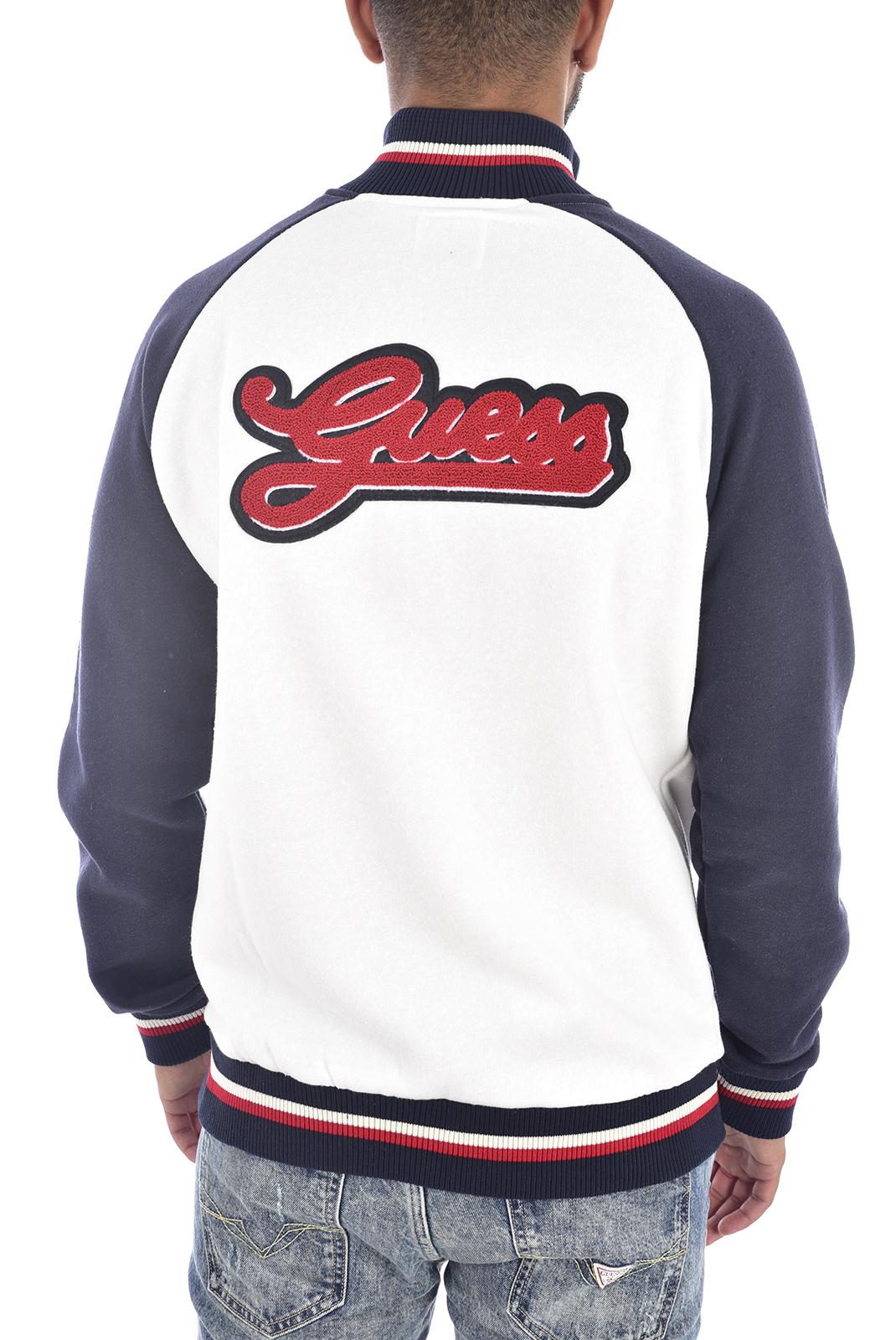 Vestes zippées  Guess jeans U94Q02 FL02A G033 BLANC BLEU