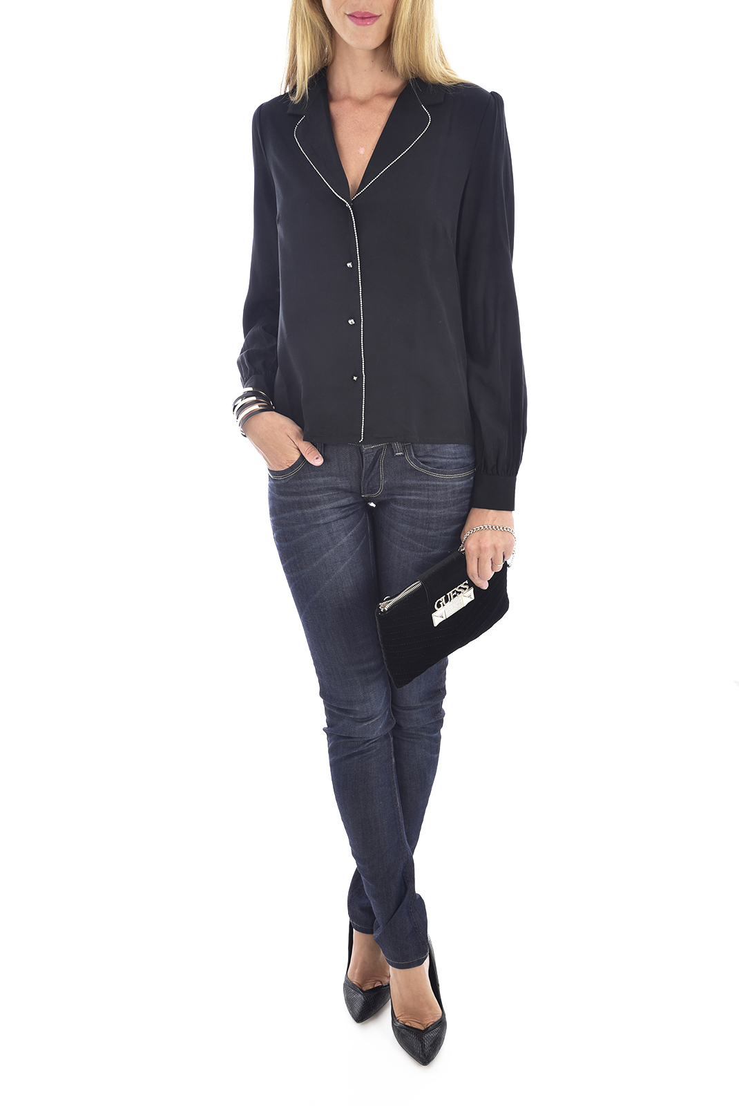 Chemisiers  Guess jeans W94H83 WCA10 Jet Black A996
