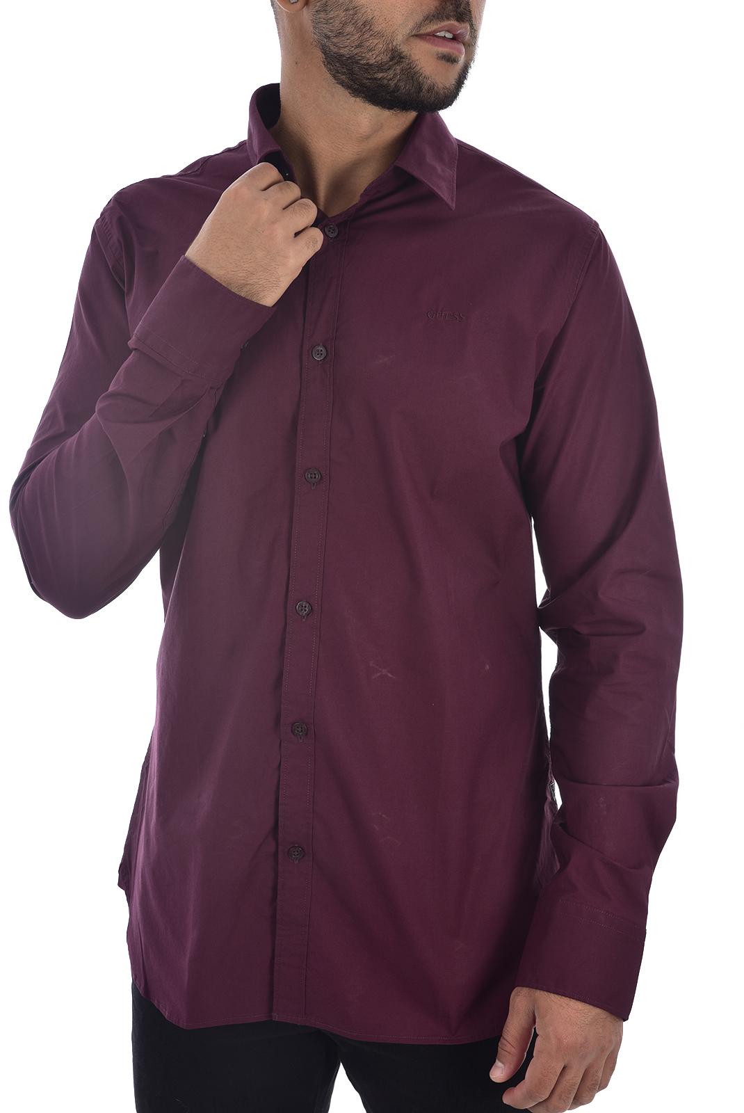 Chemises manches longues  Guess jeans M94H20 WCC70 SUNSET SHIRT REGAL PLUM