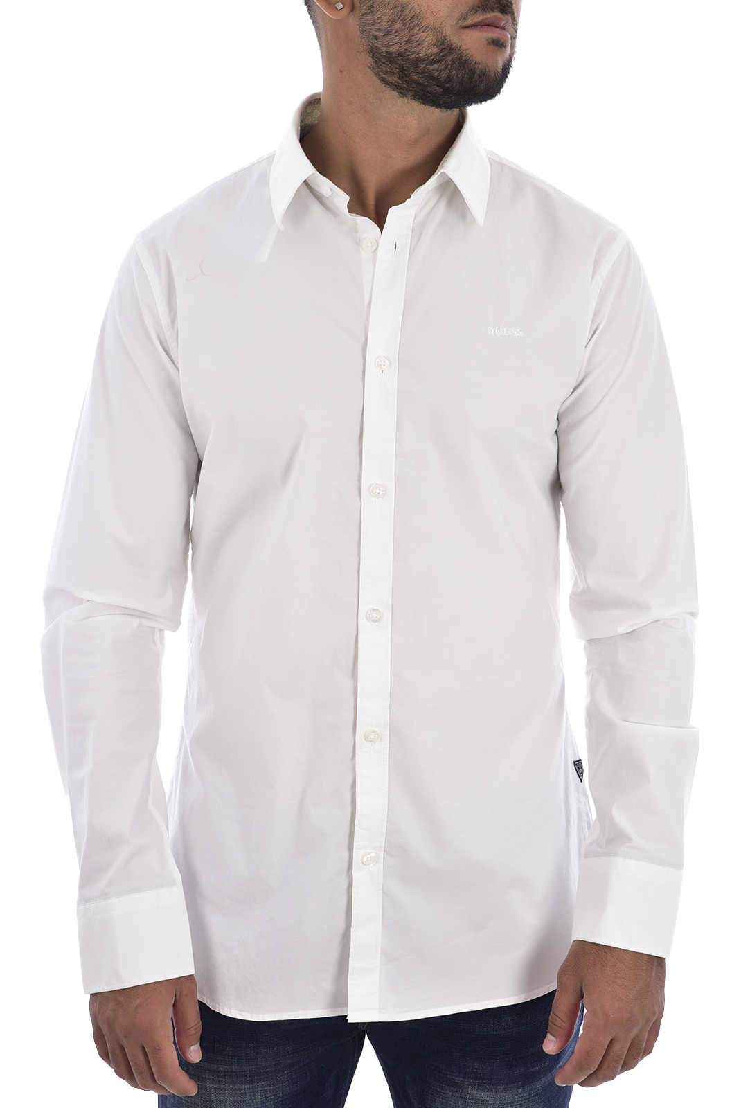 Chemises manches longues  Guess jeans M94H20 WCC70 SUNSET SHIRT TRUE WHITE A000