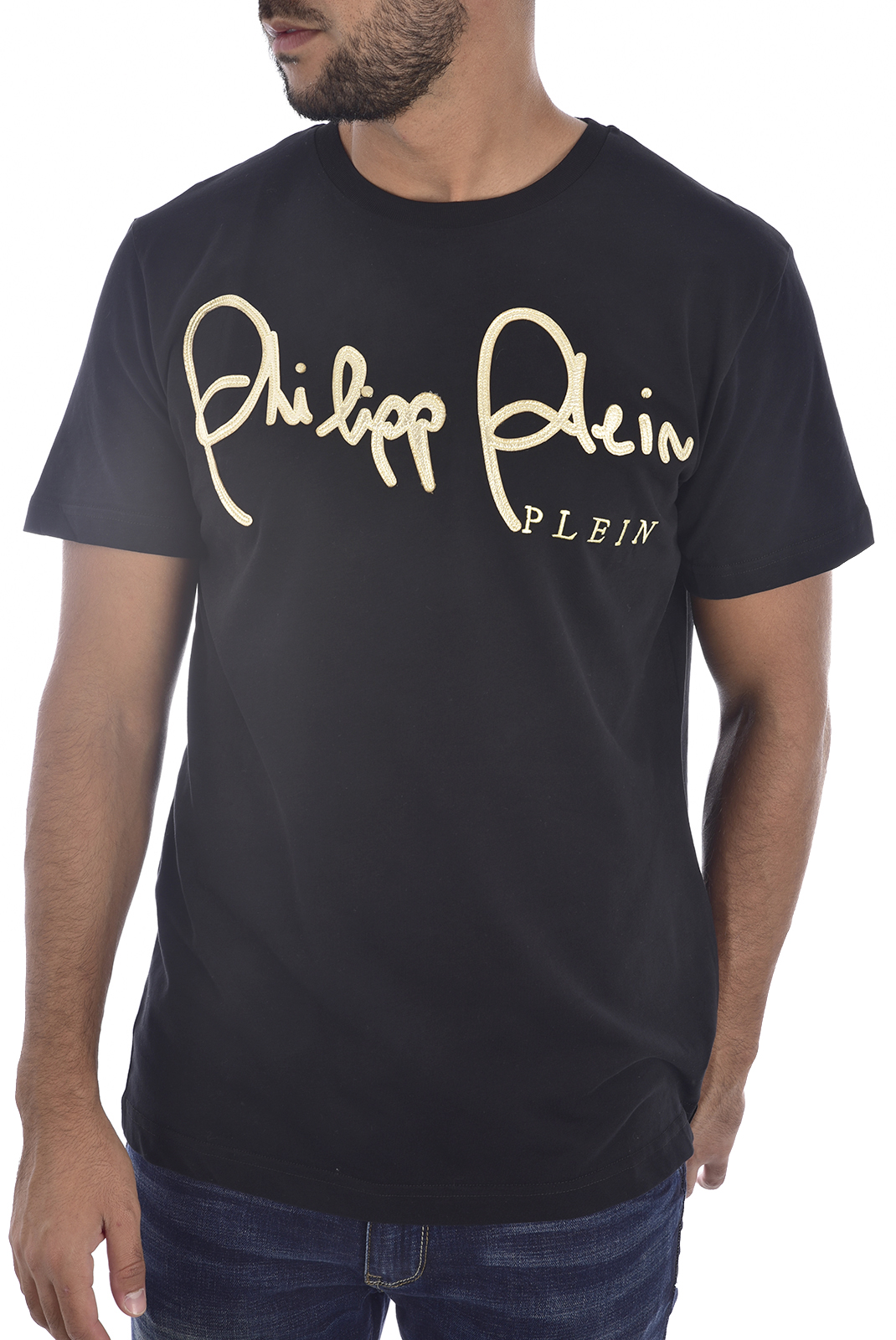 Tee-shirts  Philipp plein MTK2367 GOLD CUT ROUND NECK SS SIGN BLACK/GOLD