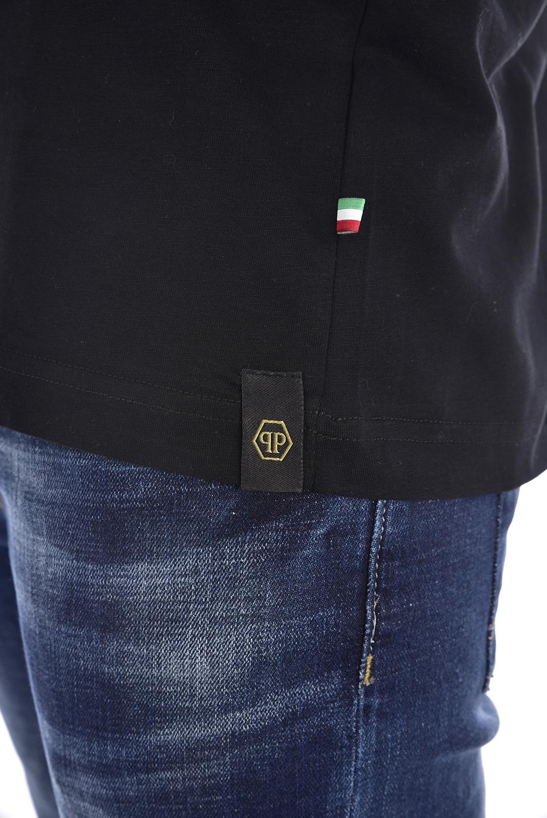 Tee-shirts  Philipp plein MTK2367 GOLD CUT ROUND NECK SS SIGN BLACK/SILVER