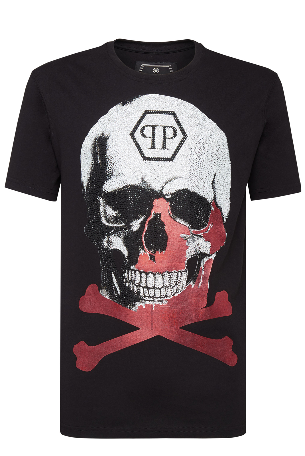 Tee-shirts  Philipp plein MTK3340 PLATINUM CUT ROUND NECK SKULL BLACK