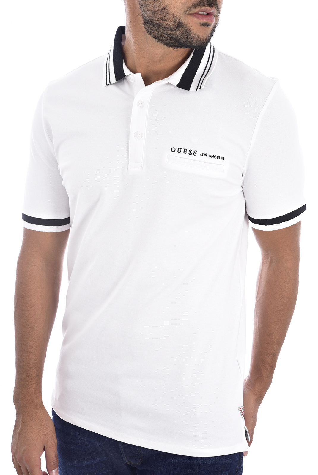 Polos  Guess jeans M94P37 K7O60 Blanc pur