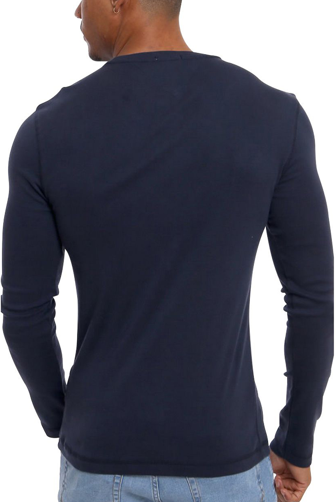 Tee-shirts  Tommy hilfiger DM0DM04409 RIB LONGSLEEVE 002 BLACK IRIS