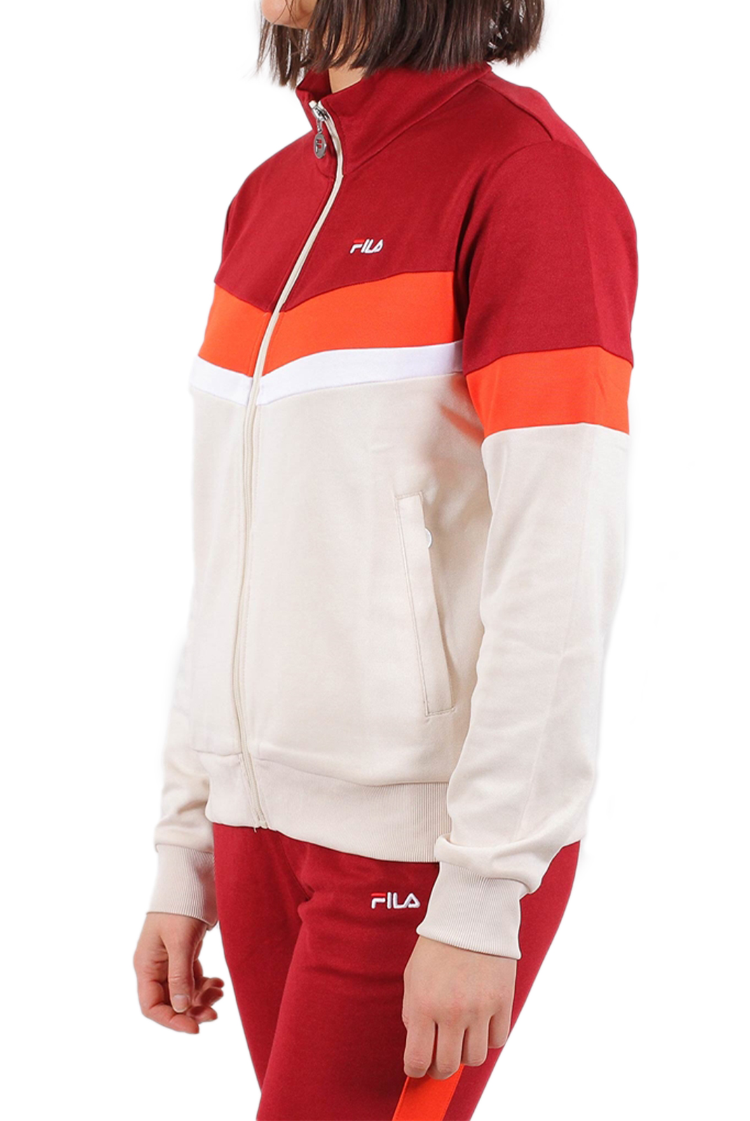 Sweat / sweat zippé  Fila 687071 NANTALE A075 rhubarb-whitecap gray-fiesta-bright white