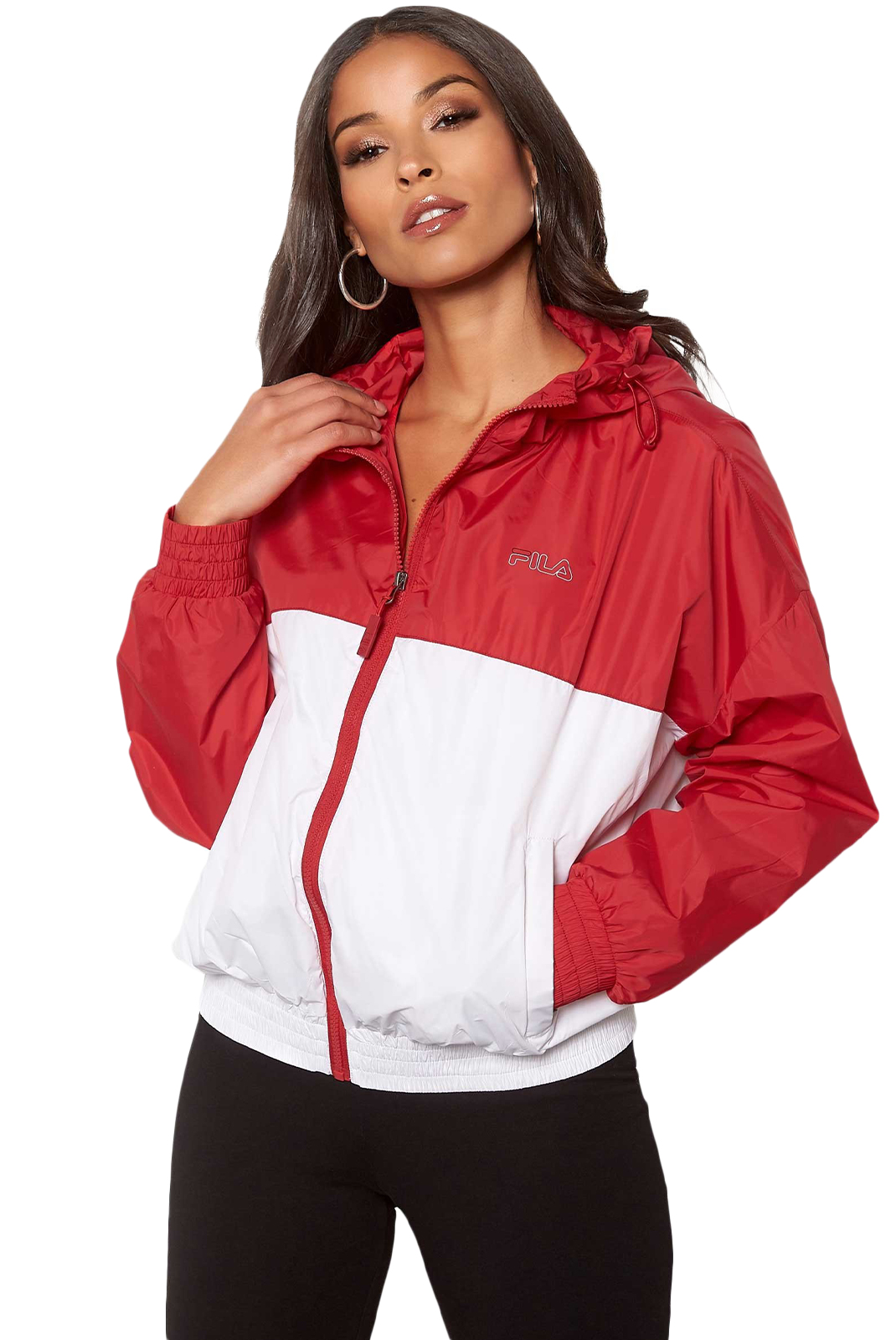 Sweat / sweat zippé  Fila 687148 RAY G12 true red-bright white