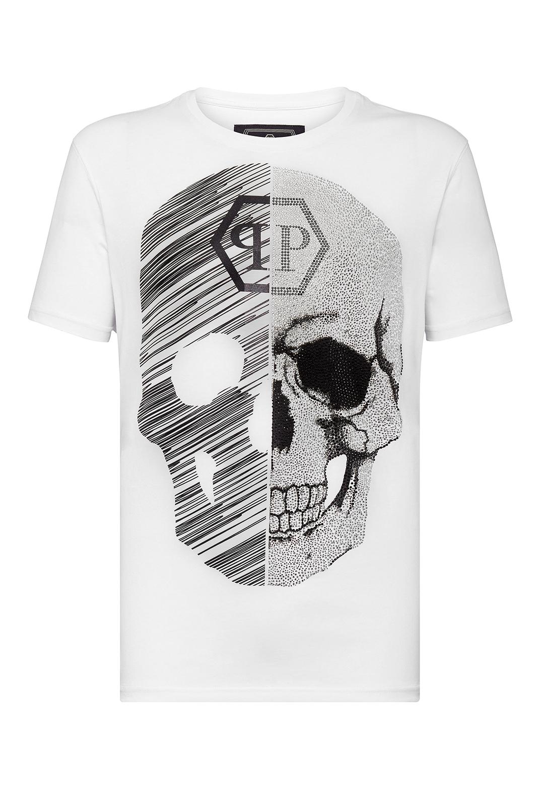 Tee-shirts  Philipp plein MTK3336 NECK SKULL 01 WHITE