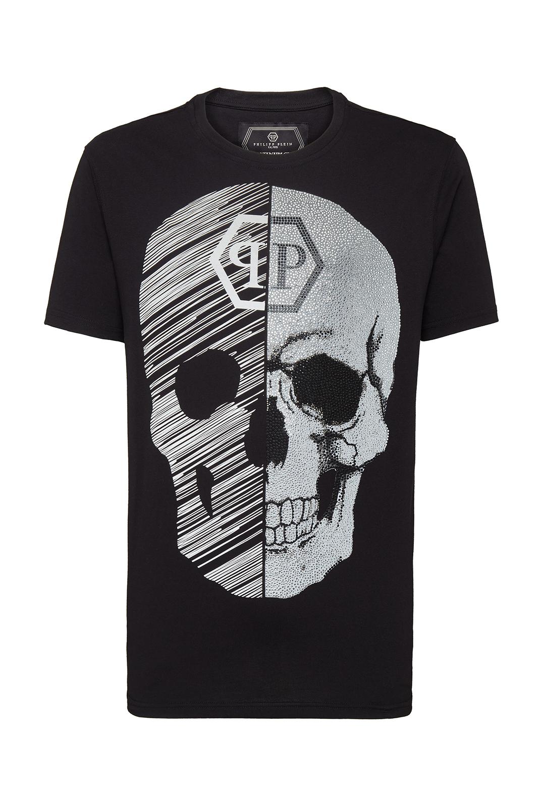 Tee-shirts  Philipp plein MTK3336 NECK SKULL 02 BLACK