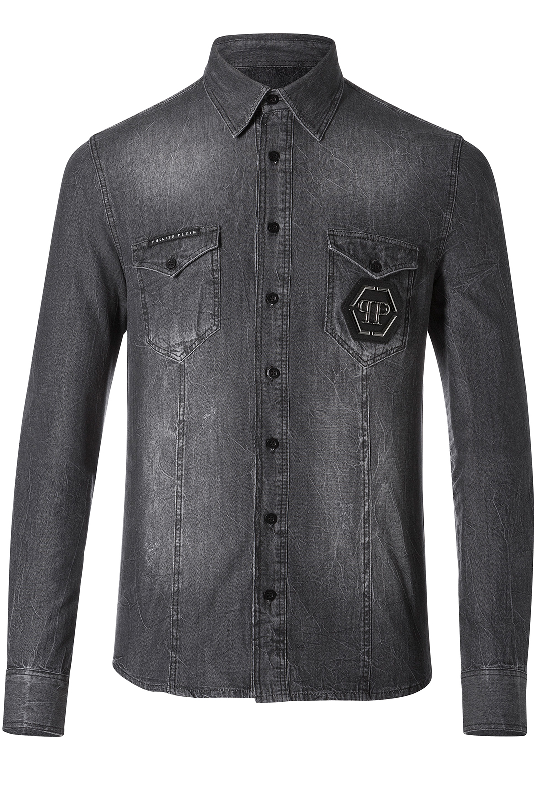 Chemises manches longues  Philipp plein MDP0036 FULL GRIS FONCE