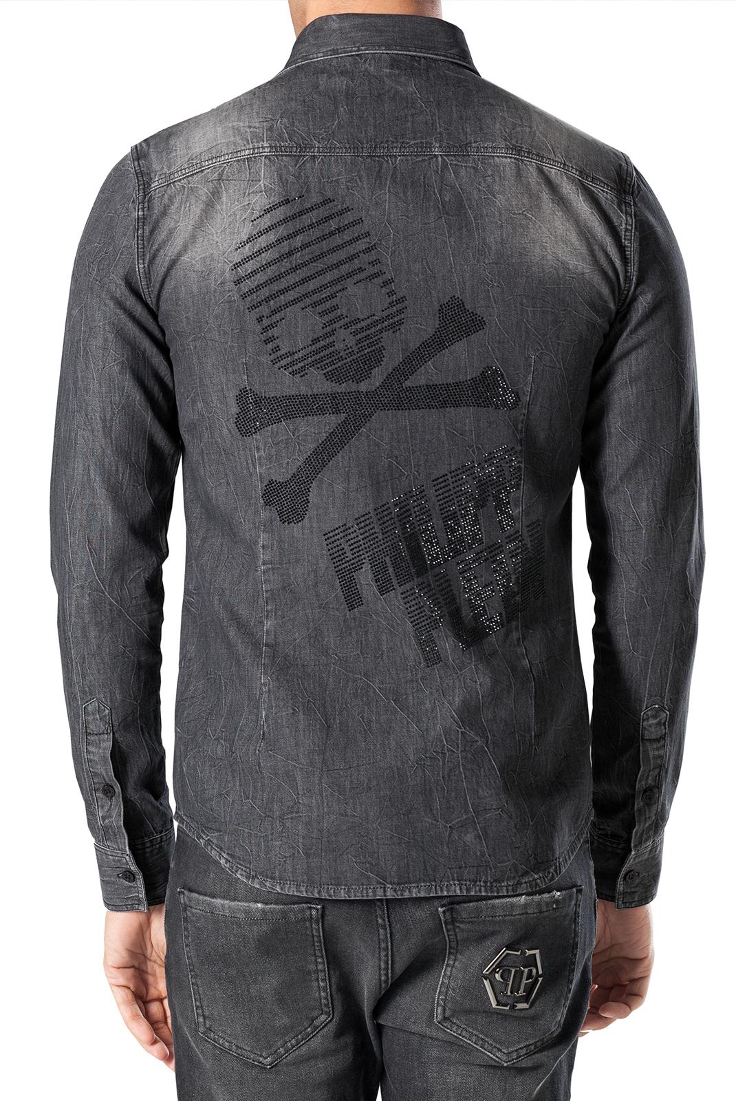 Chemises manches longues  Philipp plein MDP0036 FULL GRIS FONCE