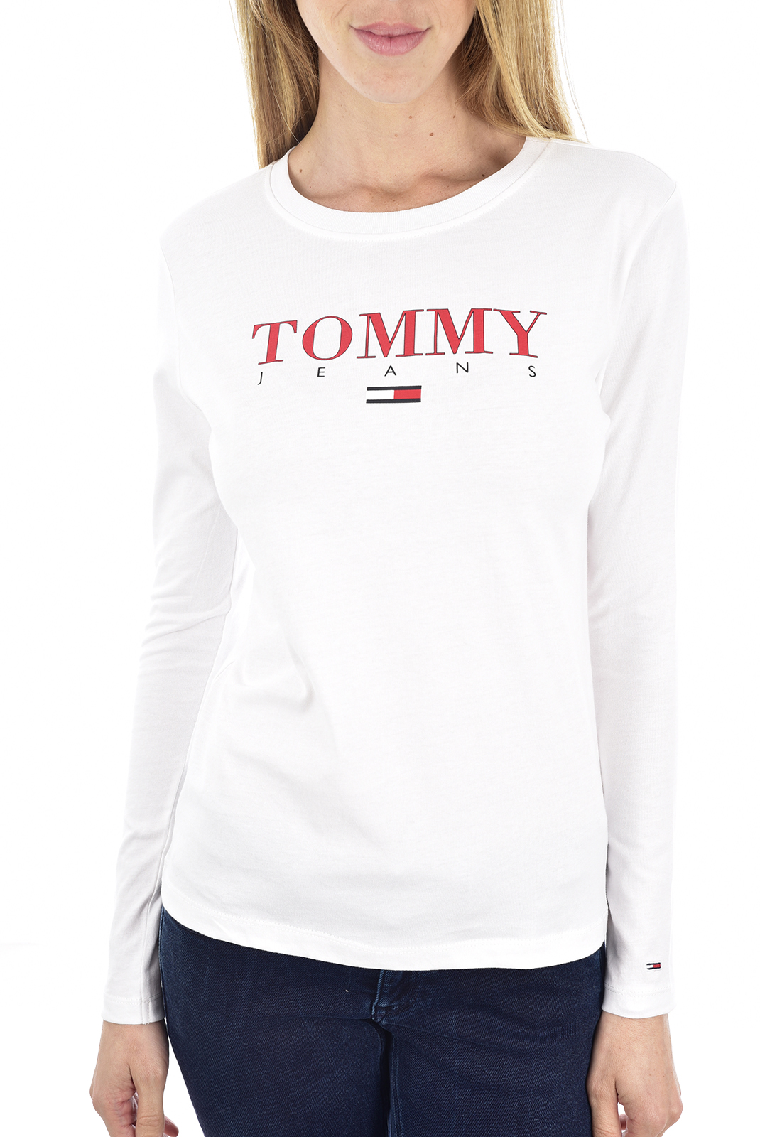 Tee shirt manches longues  Tommy Jeans DW0DW07525 YA2 classic white