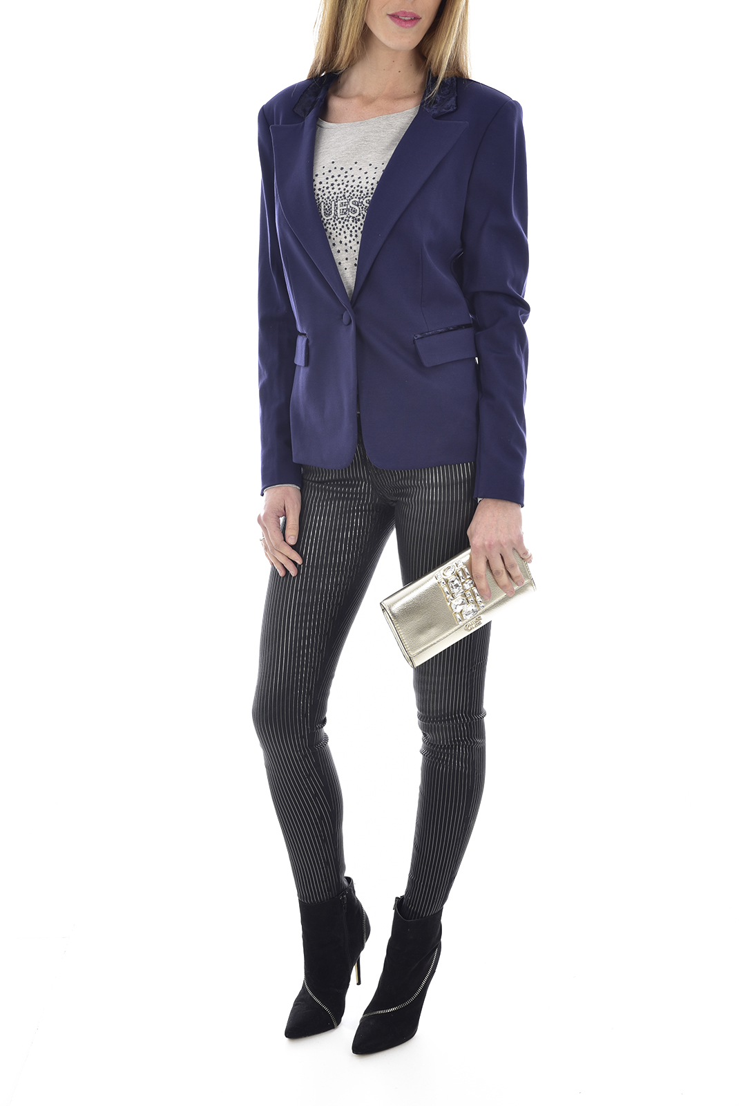 Jeans   Guess jeans W81A27D2XE0 jegging MTSK METAL STRIPE BLACK