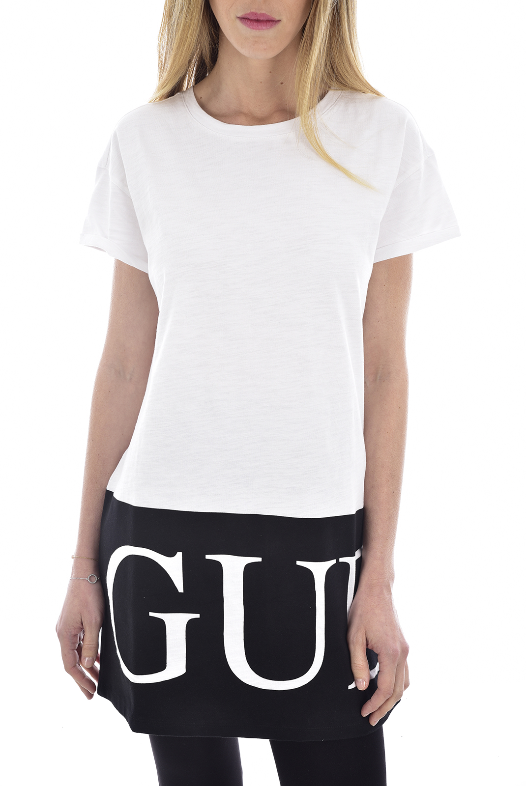 Tee shirt  Guess jeans W63I1GK3541 TWHT Blanc pur
