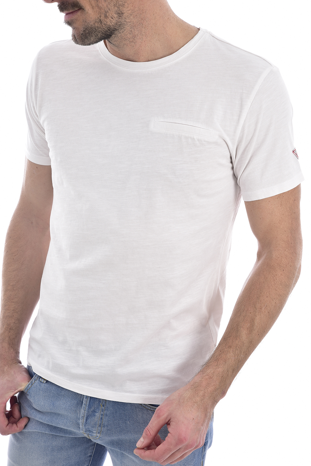 T-S manches courtes  Guess jeans M0GI54 K6XN0CN SS POCKET TRUE WHITE A000