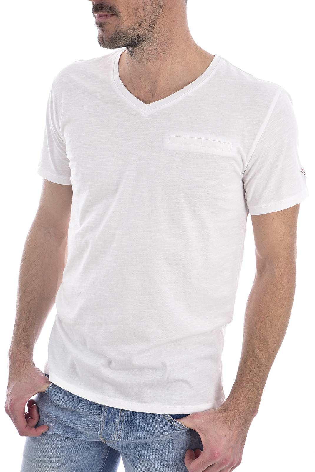T-S manches courtes  Guess jeans M0GI55 K6XN0VN SS POCKET SLUB TRUE WHITE A000