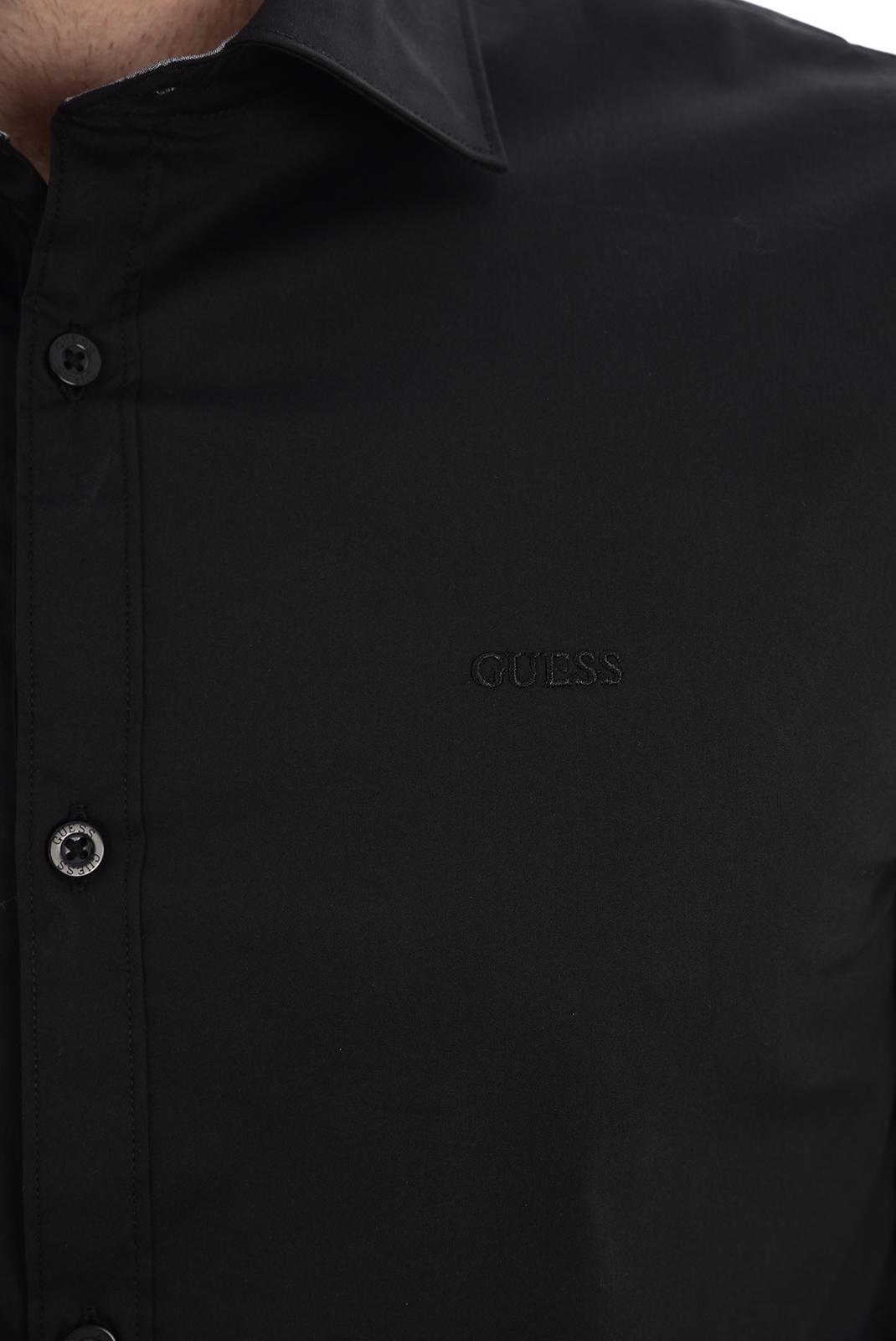 Chemises manches longues  Guess jeans M02H13 W7ZK0LS ALAMEDA Jet Black A996