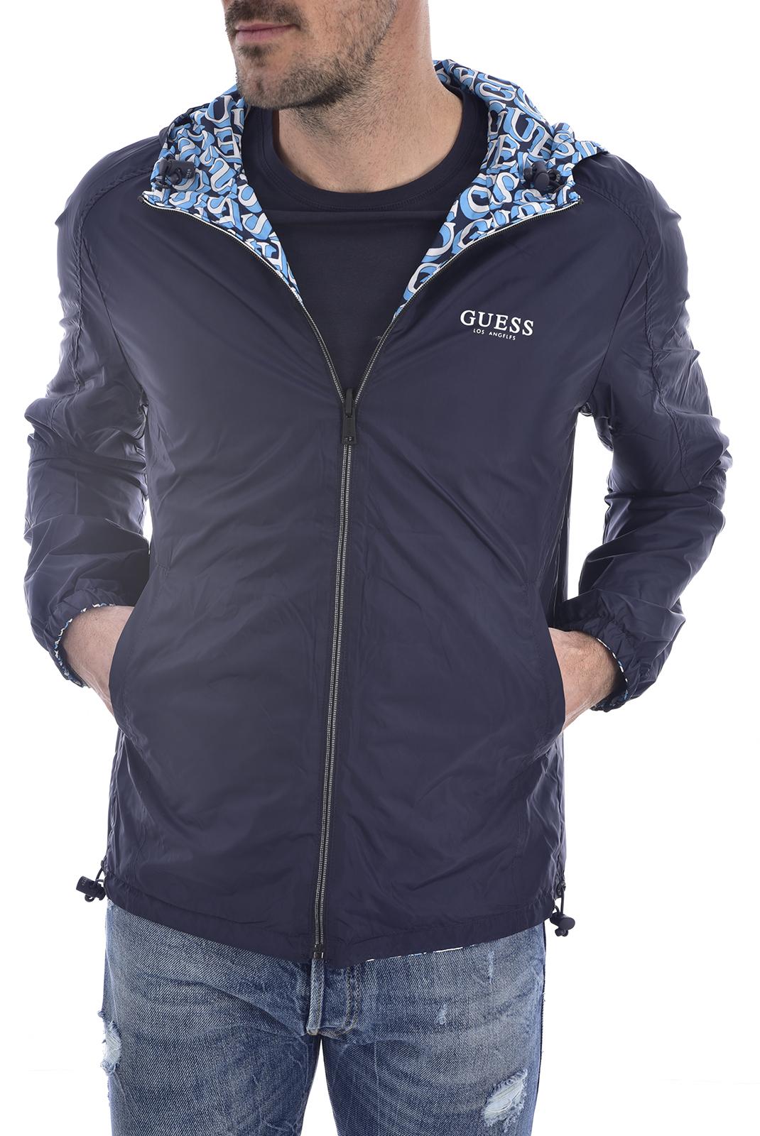 Blousons / doudounes  Guess jeans M02L42 WCQA0 REVERSIBLE JKT POL7 1000 GUESS BLUE