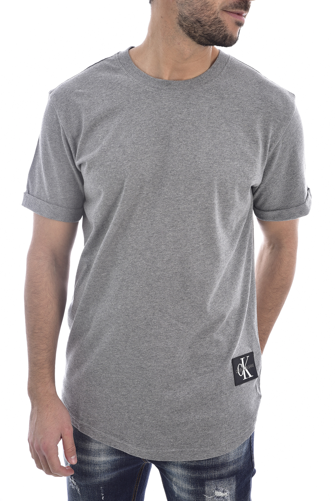 T-S manches courtes  Calvin klein J30J315319 - BADGE TURN UP P2F MID GREY HEATHER