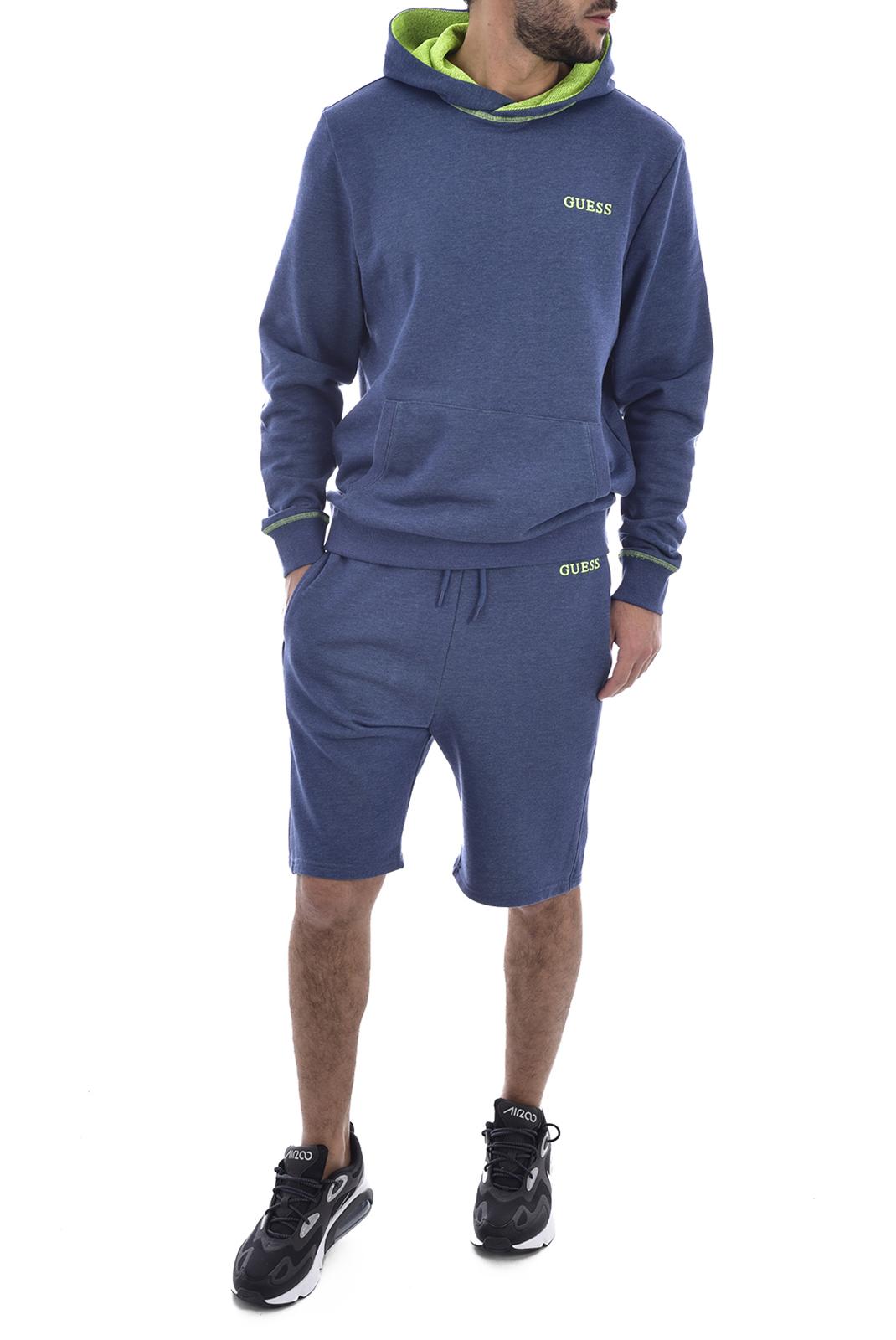 Sweatshirts  Guess jeans M0GQ44 K9PF0 BRADFORD F71B BLUE AND NEON YELLOW