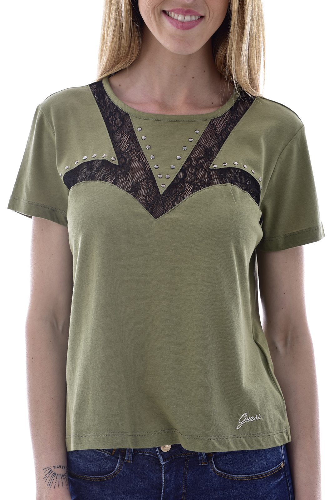 Tee shirt  Guess jeans W83I68K8BB0 VERT/ DUSTY OLIVE