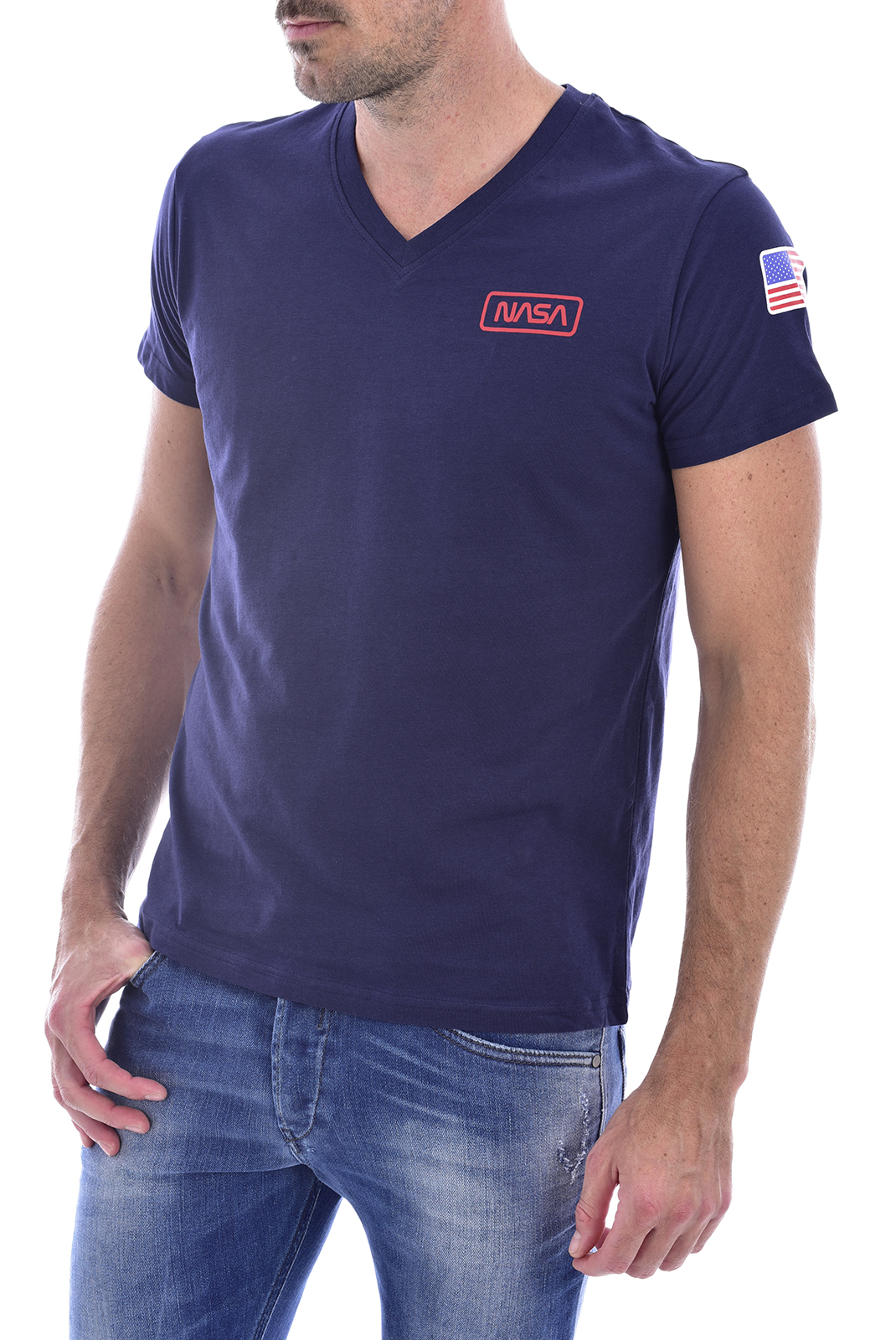 T-S manches courtes  Nasa BASIC FLAG V NECK NAVY