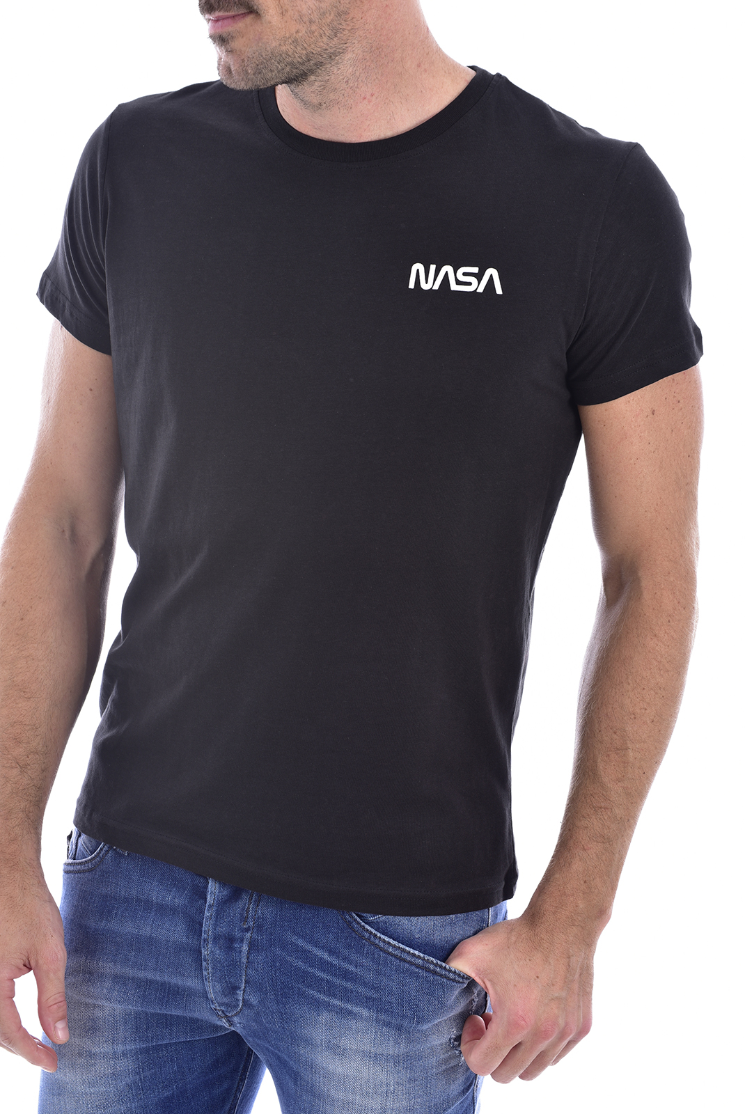T-S manches courtes  Nasa BASIC WORM O NECK BLACK