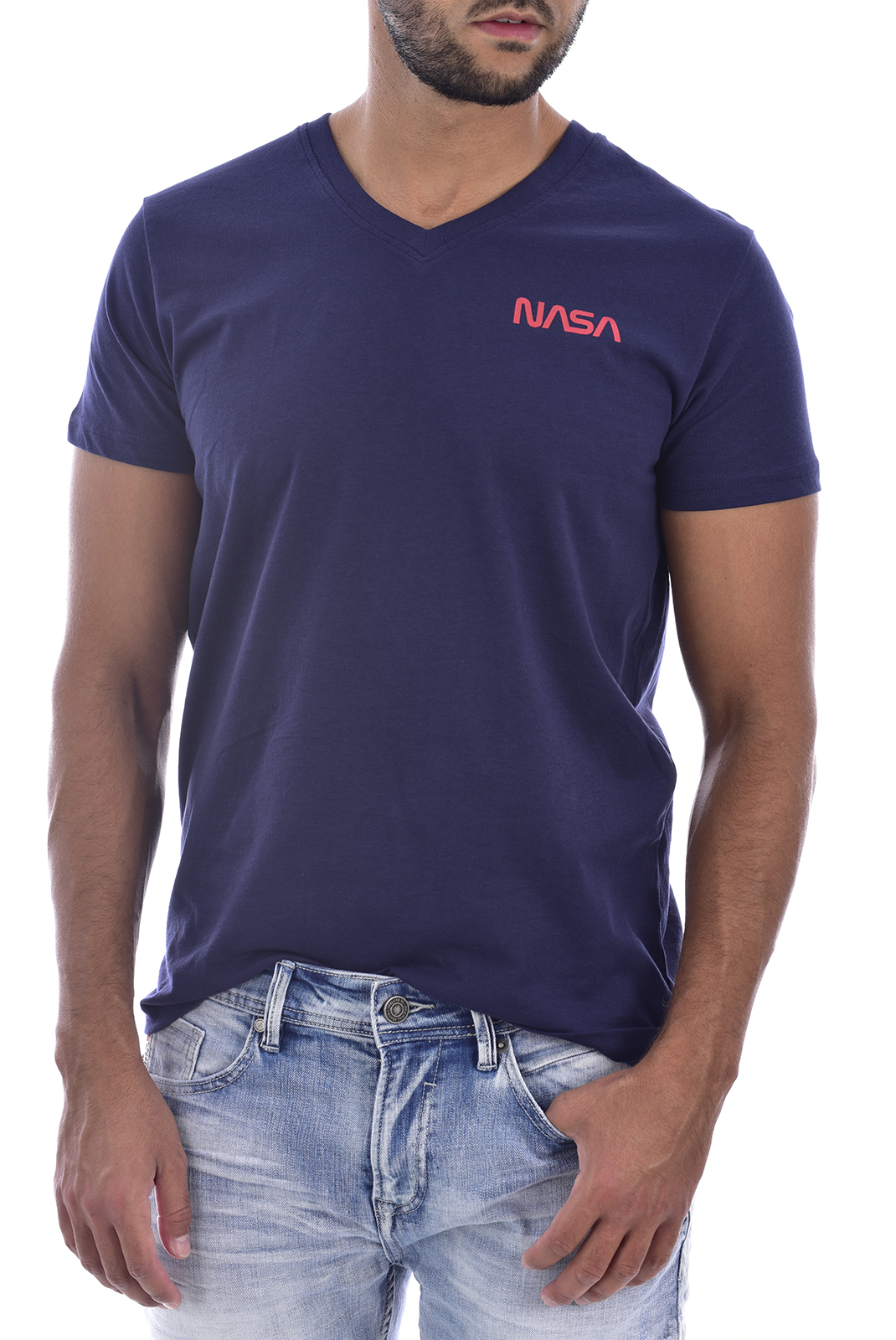 T-S manches courtes  Nasa BASIC WORM V NECK NAVY