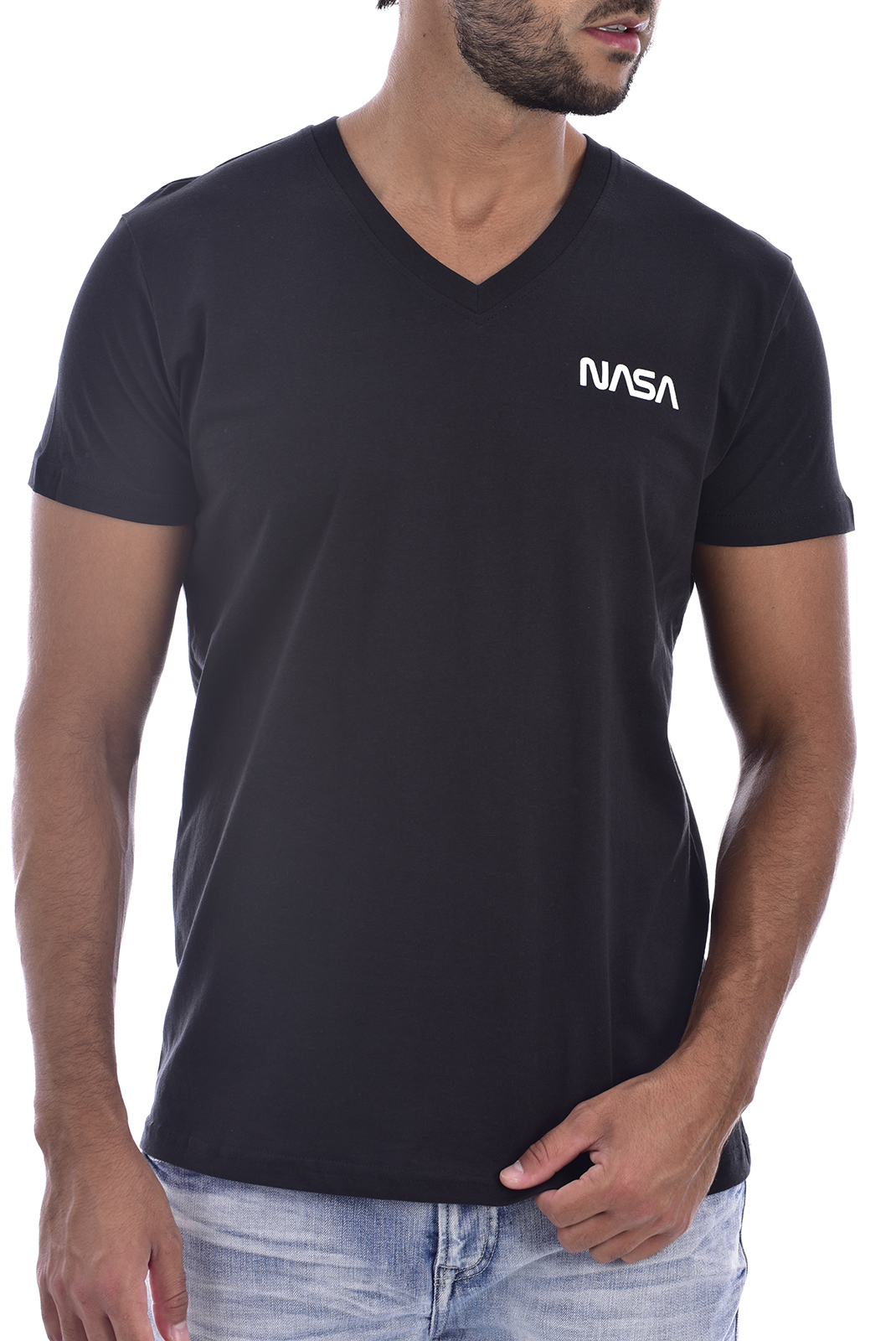 T-S manches courtes  Nasa BASIC WORM V NECK BLACK