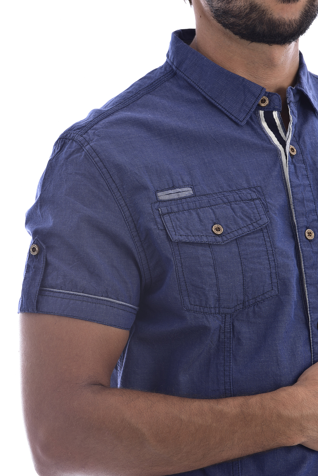 Chemises manches courtes  Deeluxe ISLANDO NAVY