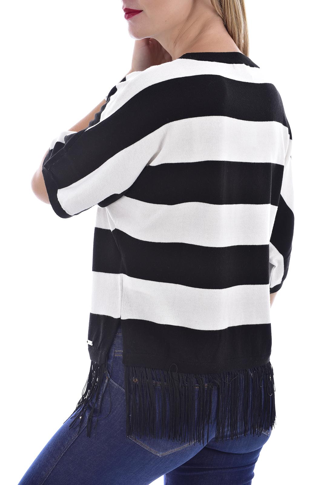 Top   Guess jeans W72R37Z23K9 WHITE AND BLACK STRI